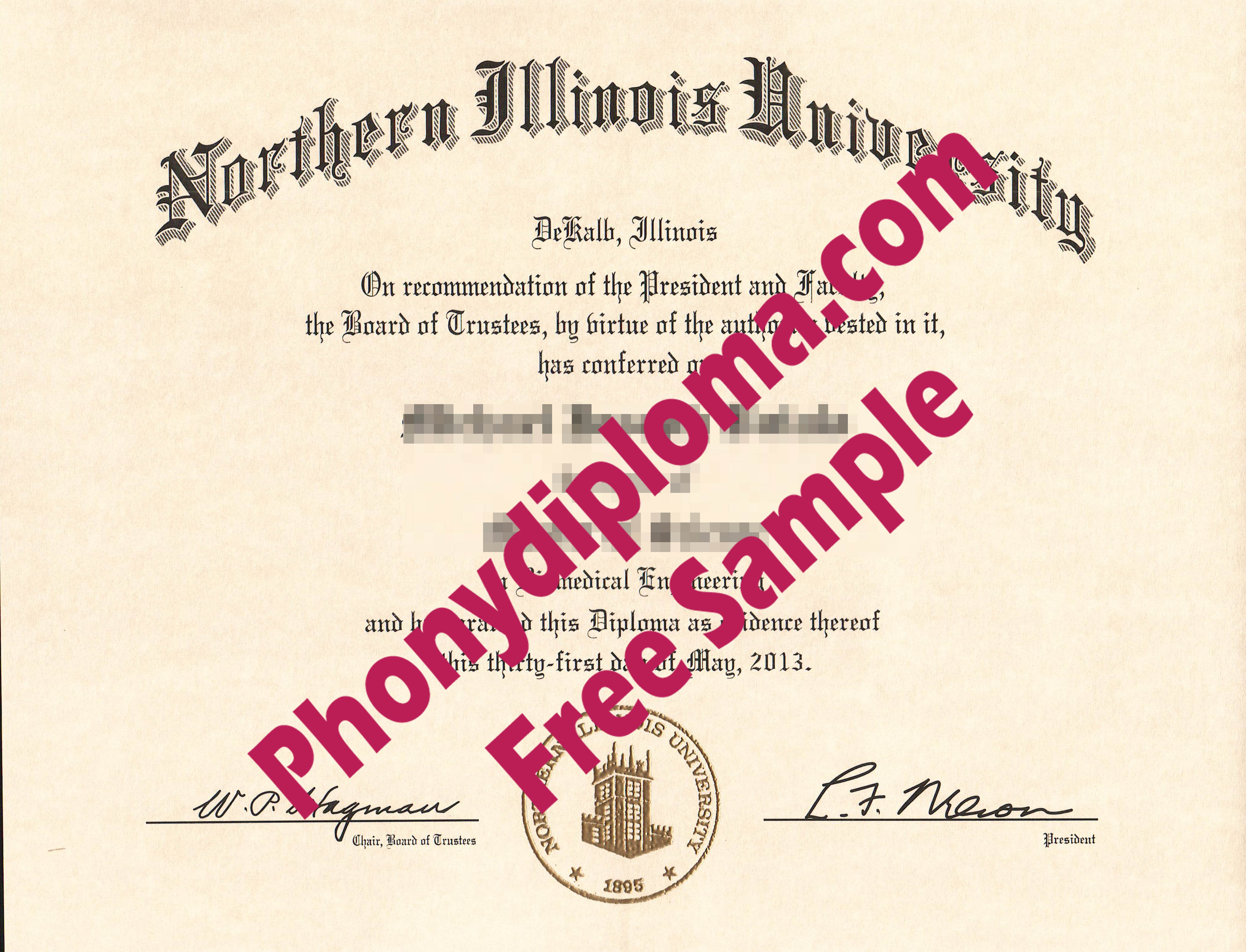 Northern Illinois University Free Sample From Phonydiploma