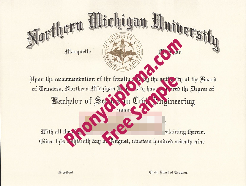 Northern Michigan University Free Sample From Phonydiploma
