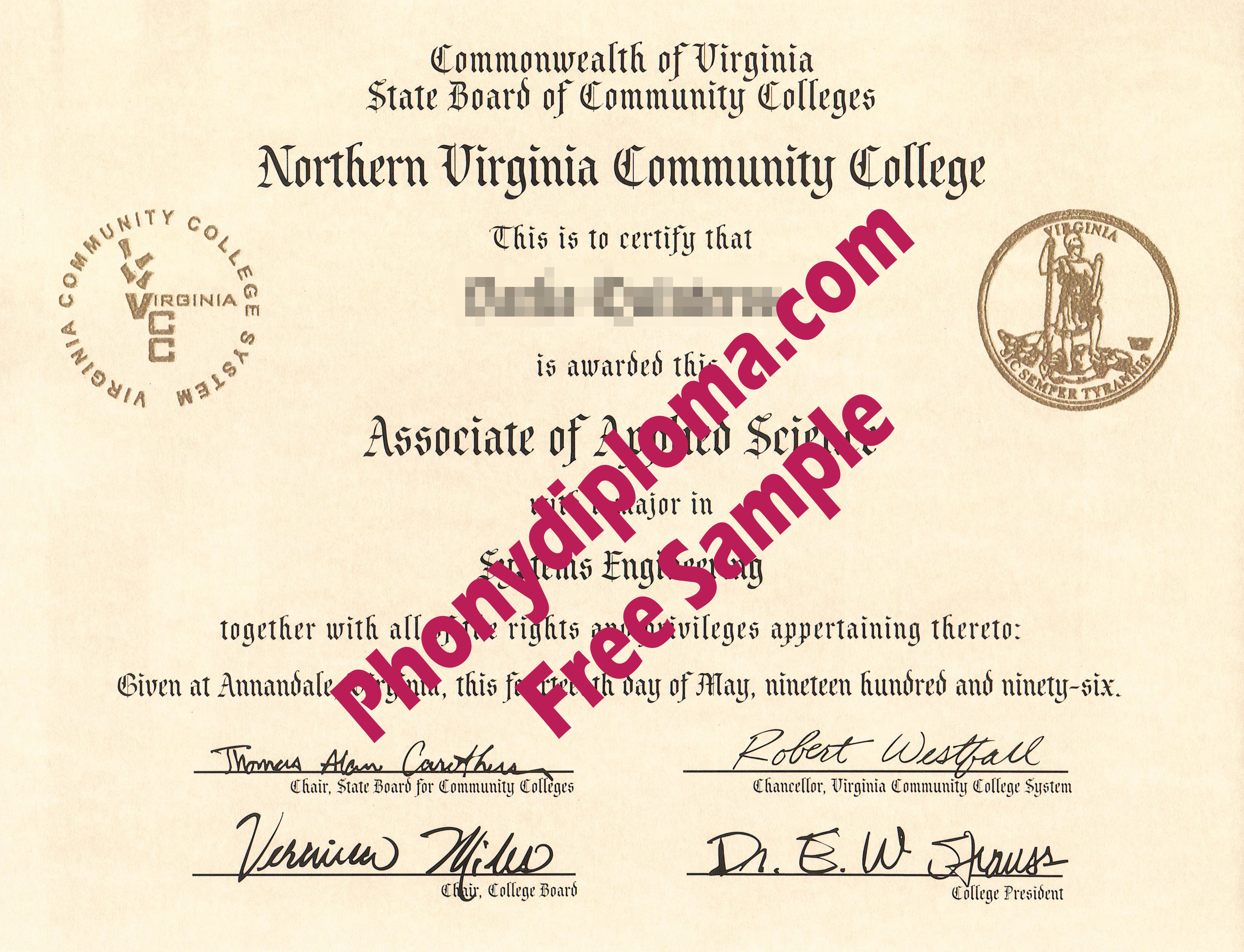 Northern Virginia Community College Free Sample From Phonydiploma