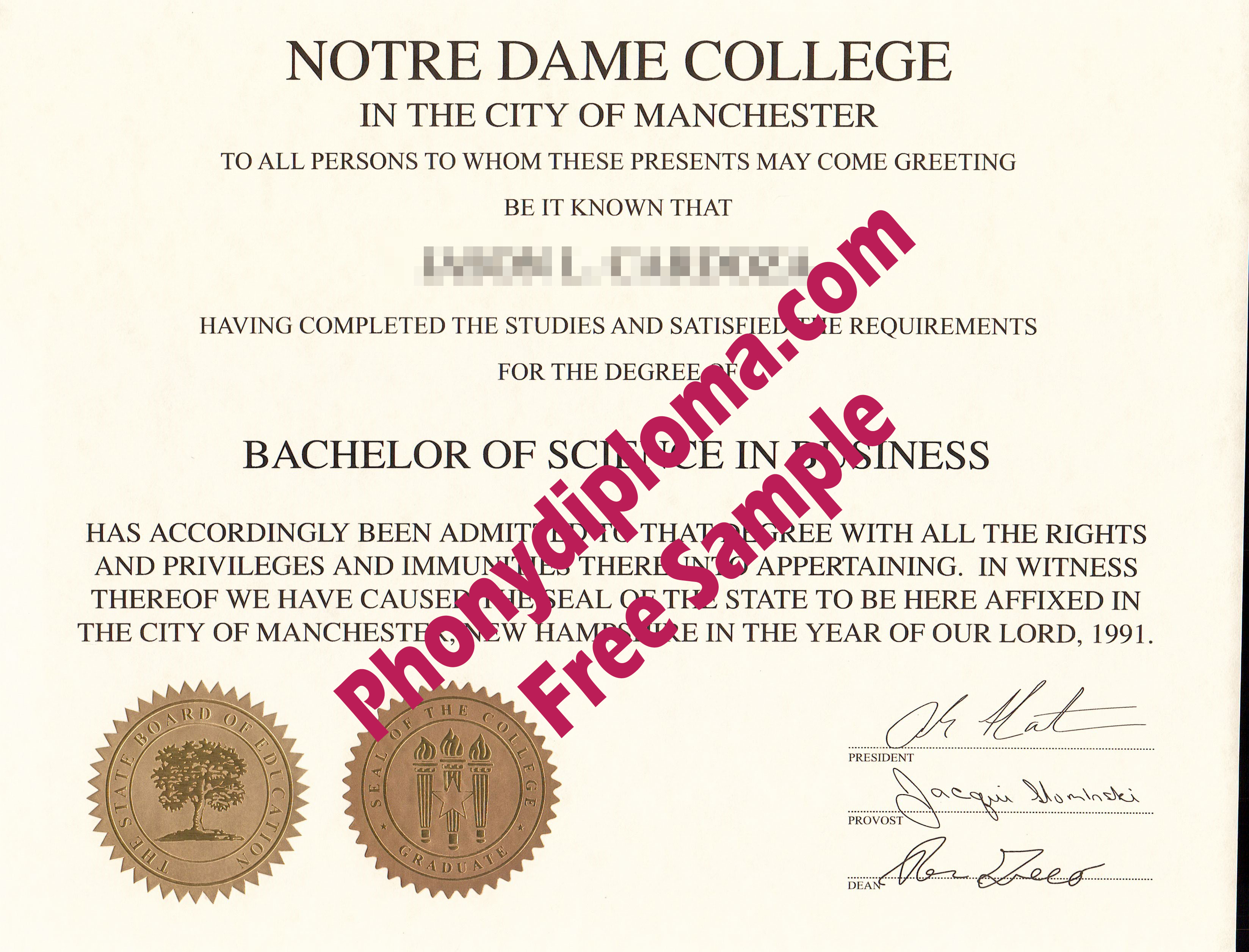 Notre Dame College New Hamshire Free Sample From Phonydiploma