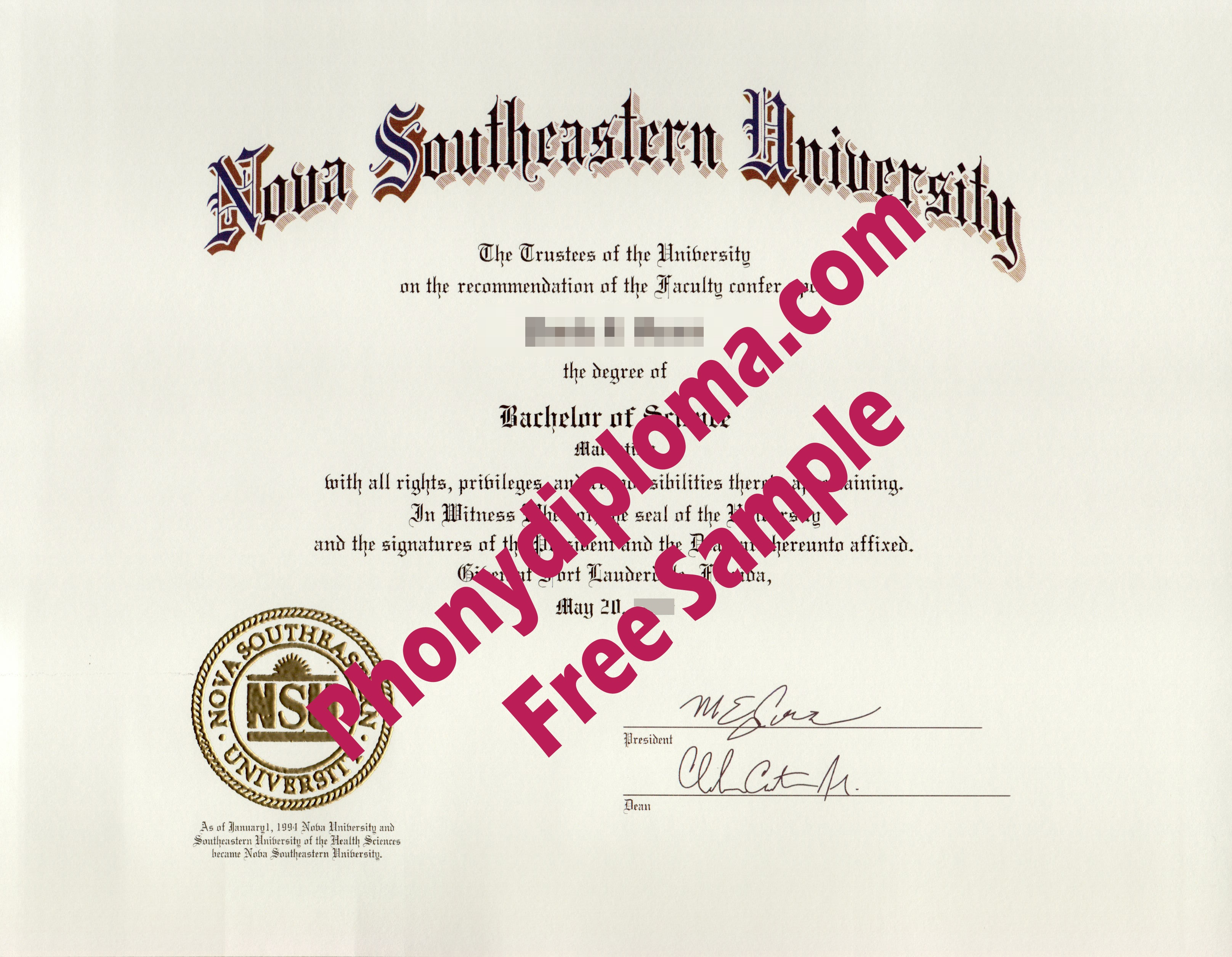 Nova Southeastern University With Raised Gold Seal Free Sample From Phonydiploma