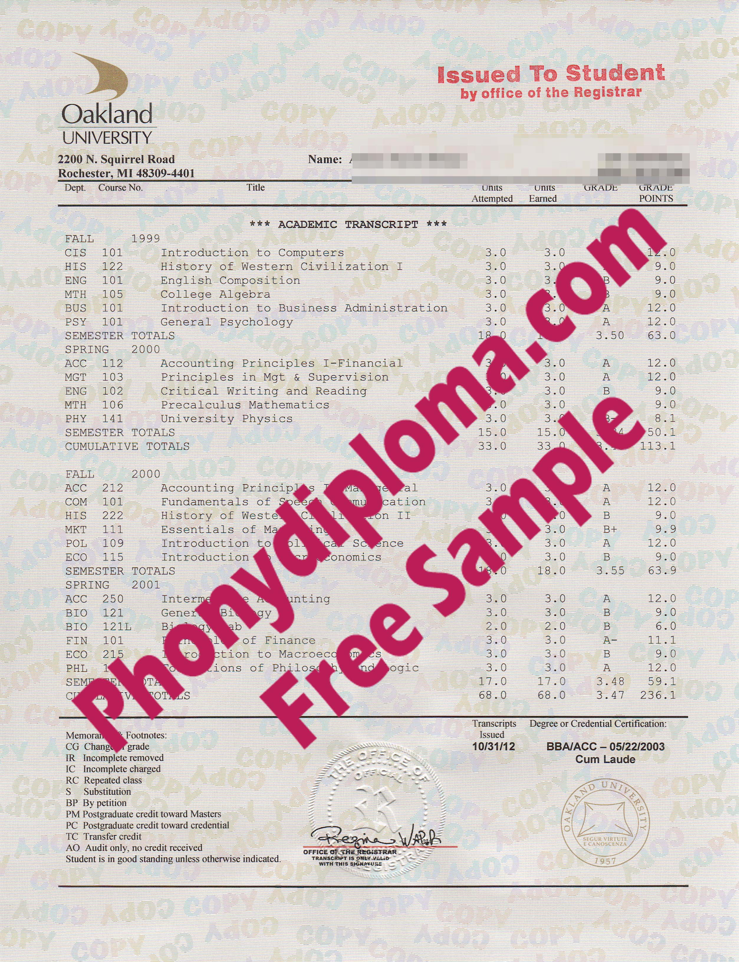 Oakland University Actual Match Transcripts Free Sample From Phonydiploma