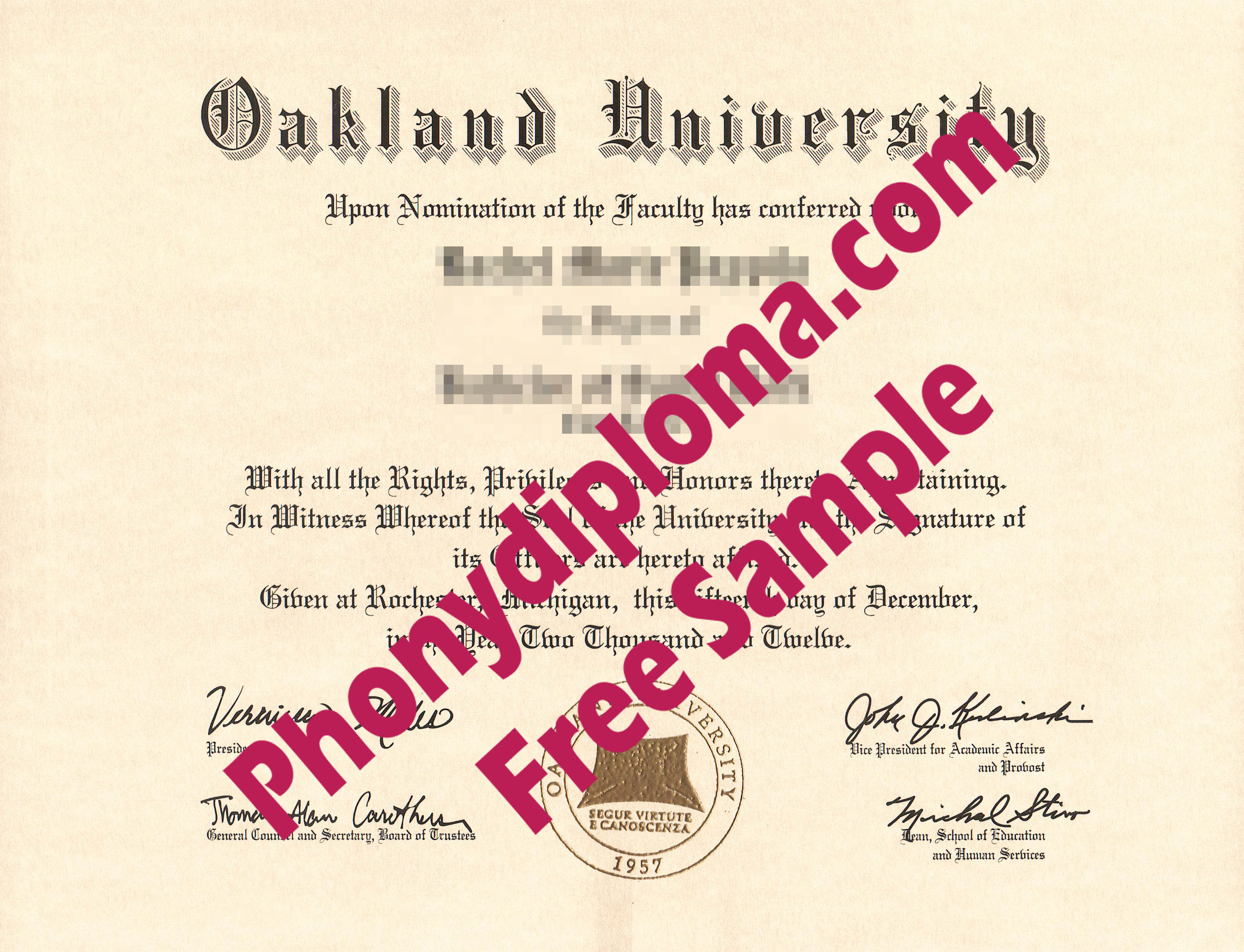 Oakland University Free Sample From Phonydiploma