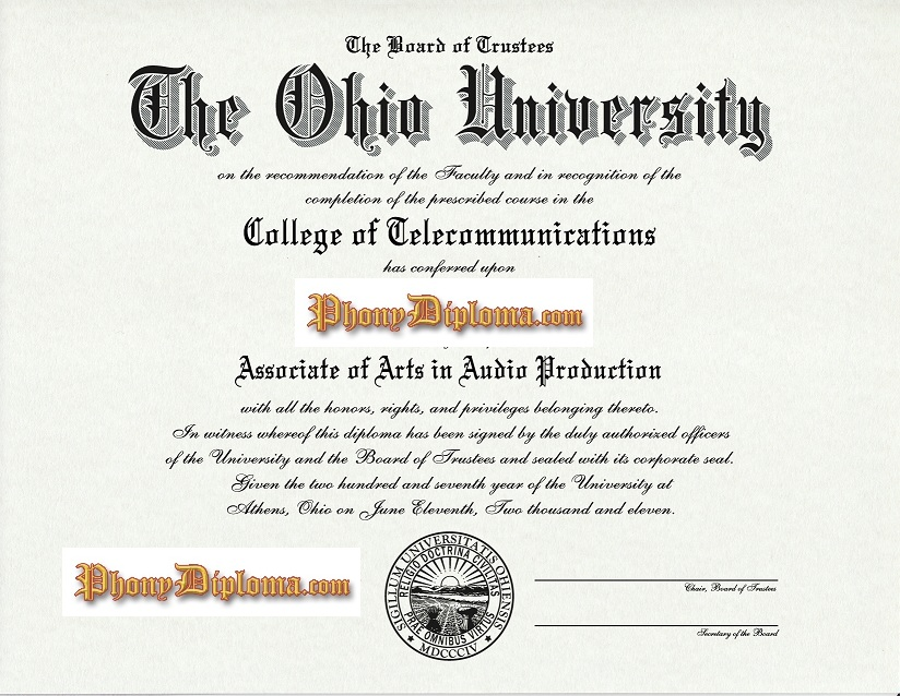 Ohio University Diploma Free Sample From Phonydiploma