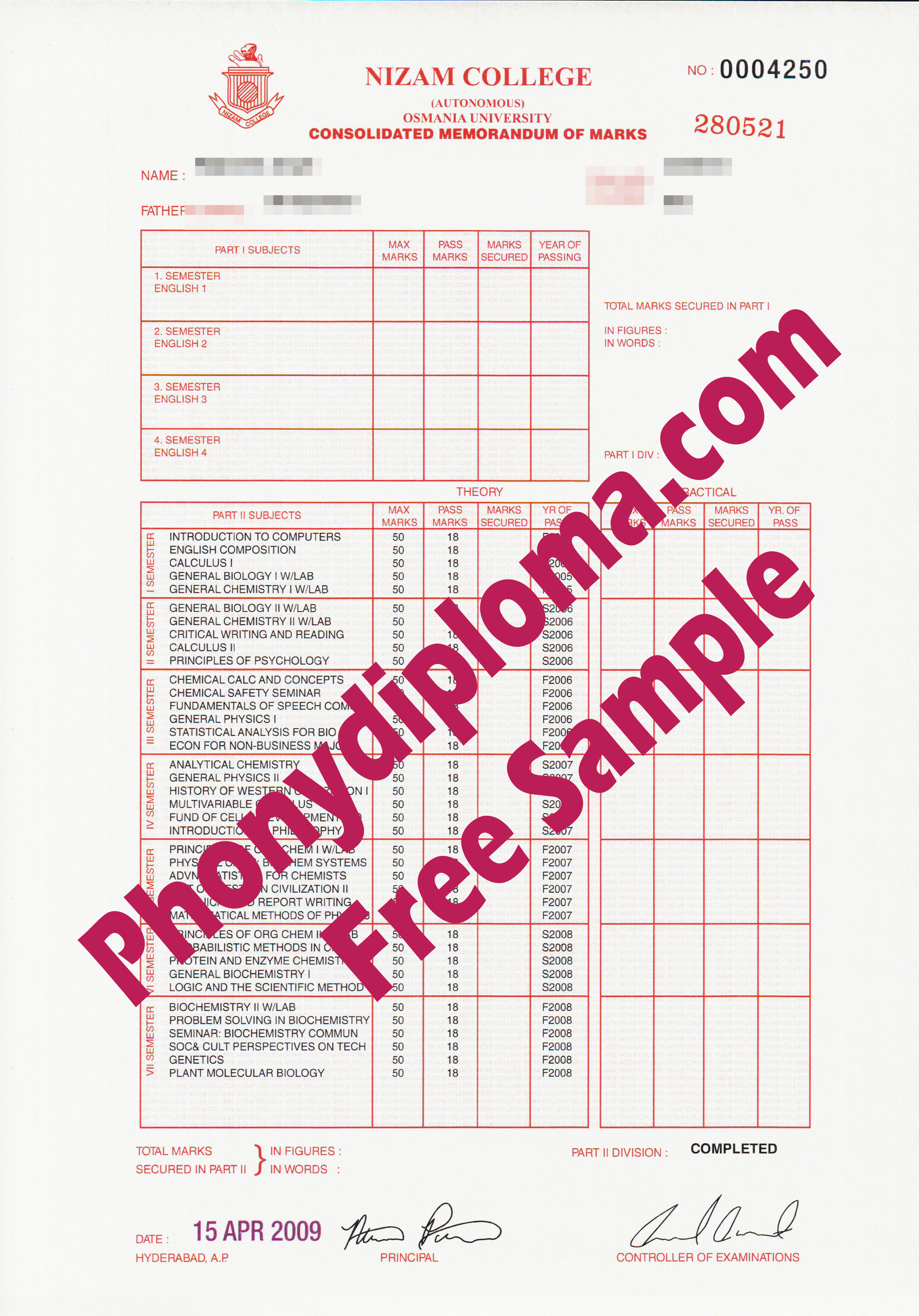 Osmania University Actual Match Transcript Free Sample From Phonydiploma
