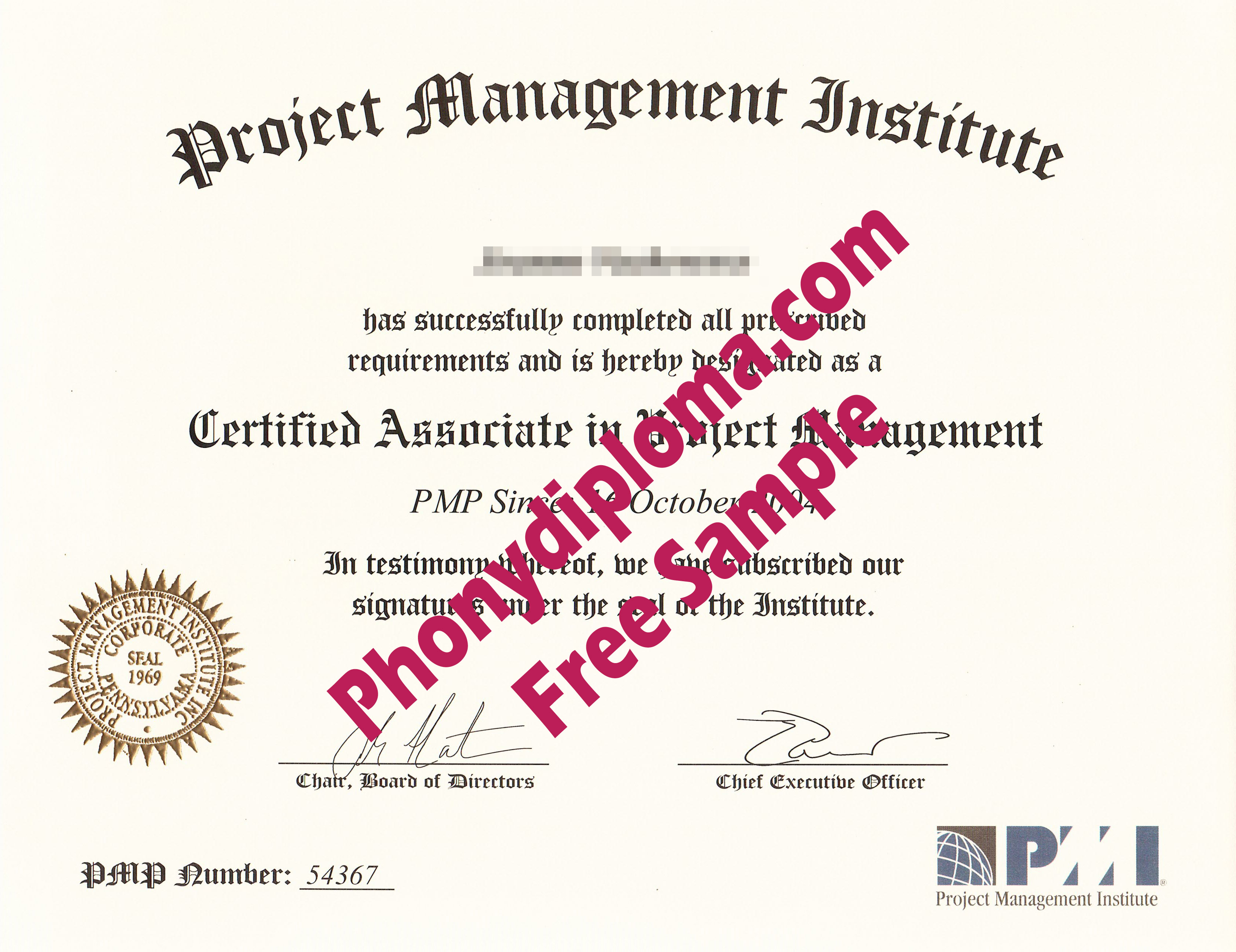 Pmi Project Management Institute Free Sample From Phonydiploma