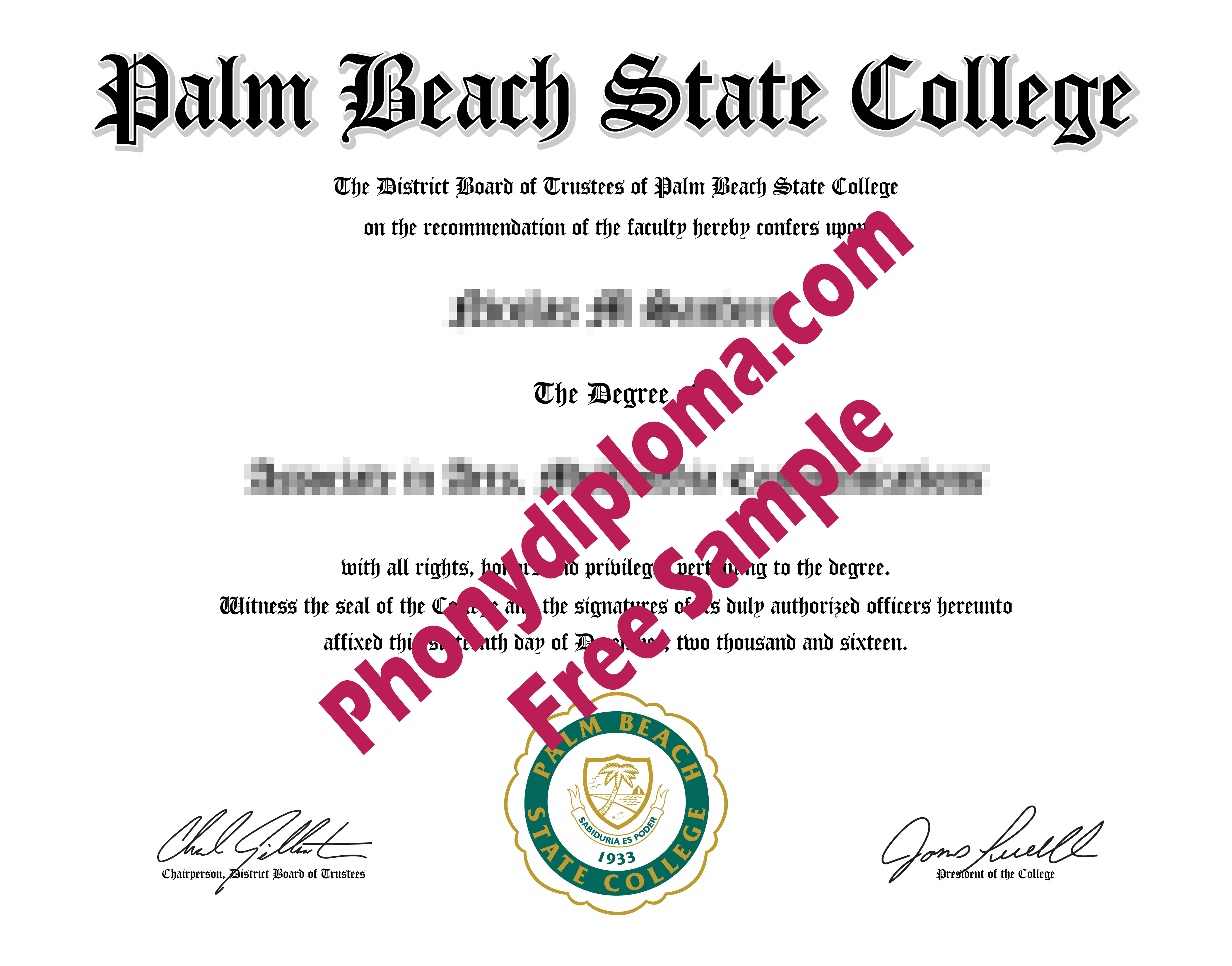 Palm Beach State College Free Sample From Phonydiploma