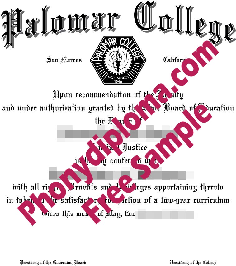Palomar College Diploma Free Sample From Phonydiploma