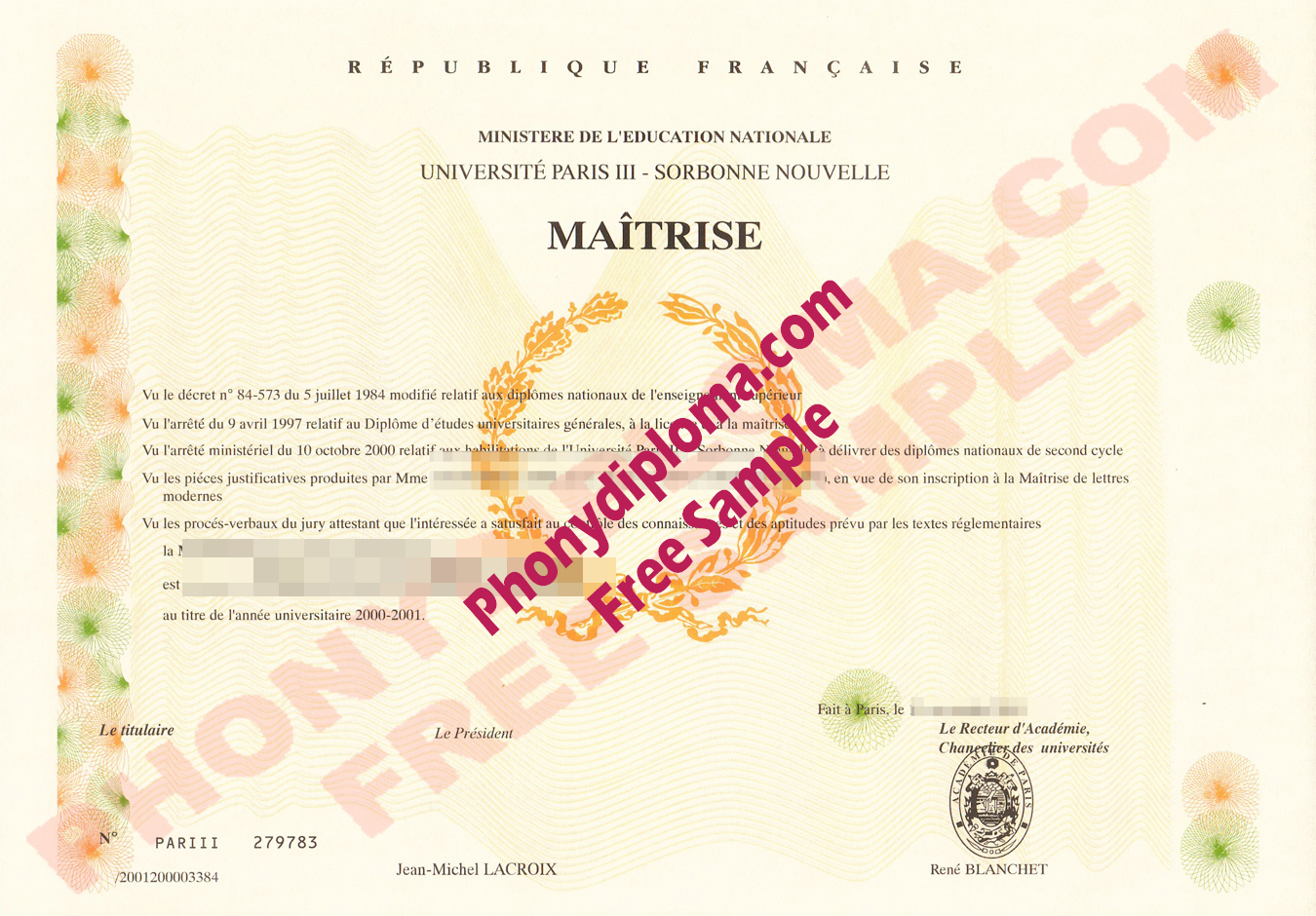 Paris Maitrise Sorbonne France Free Sample From Phonydiploma