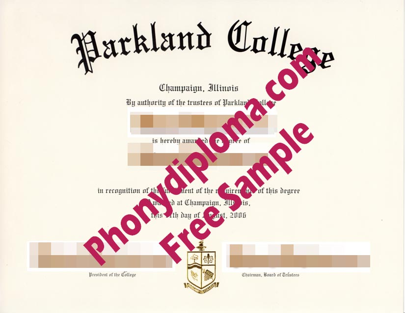 Parkland College Diploma Free Sample From Phonydiploma