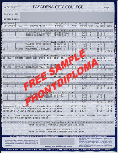 Pasadena City College Actual Match Transcript Free Sample From Phonydiploma