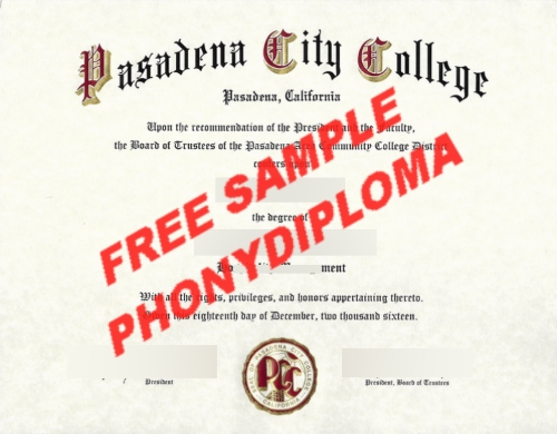 Pasadena City College Diploma Free Sample From Phonydiploma