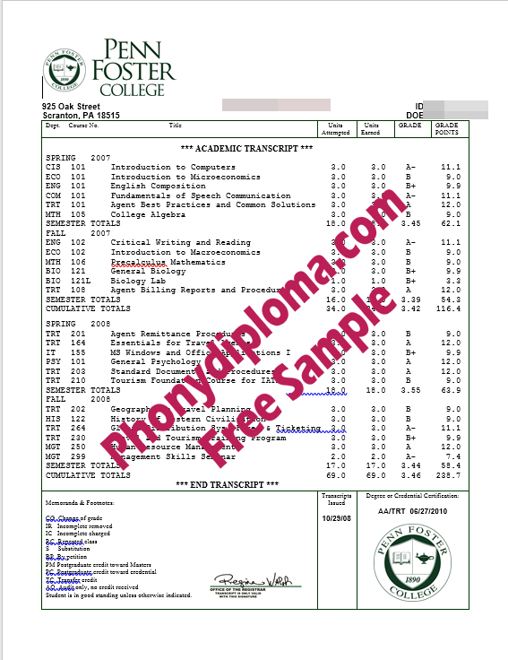 Penn Foster College House Design Transcripts Free Sample From Phonydiploma