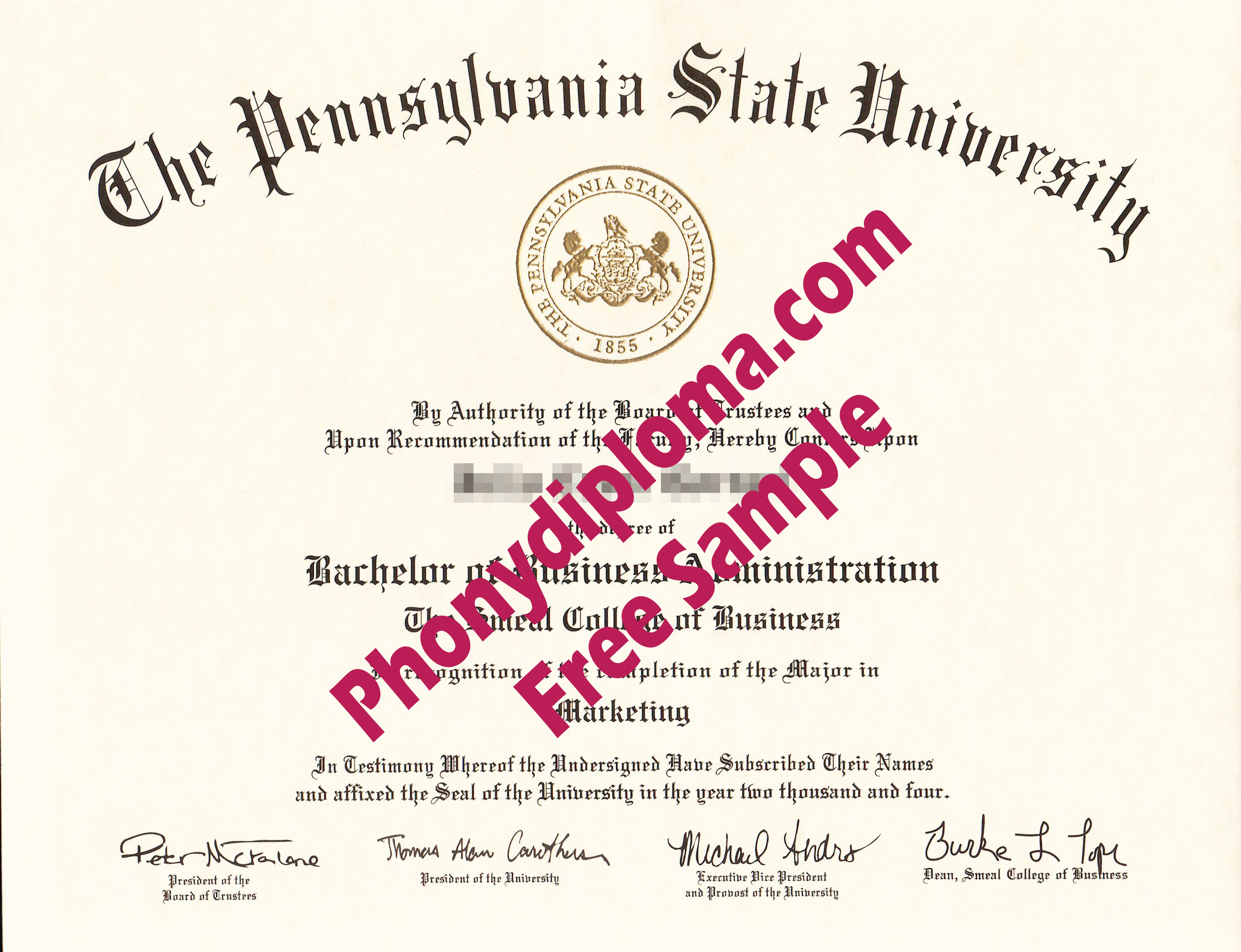 Pennsylvania State University All Campuses Except University Park Free Sample From Phonydiploma