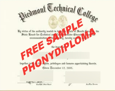 Piedmont Technical College Diploma Free Sample From Phonydiploma