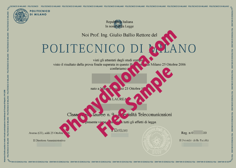 Polytechnico Di Milano Free Sample From Phonydiploma