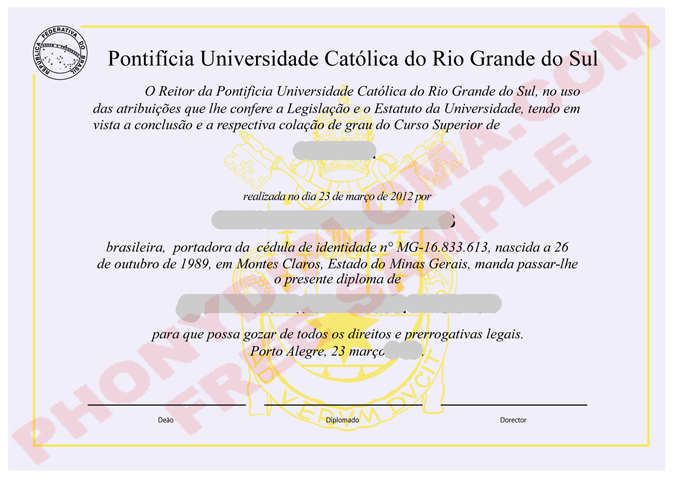 Pontifica Universidade Catolica Free Sample From Phonydiploma
