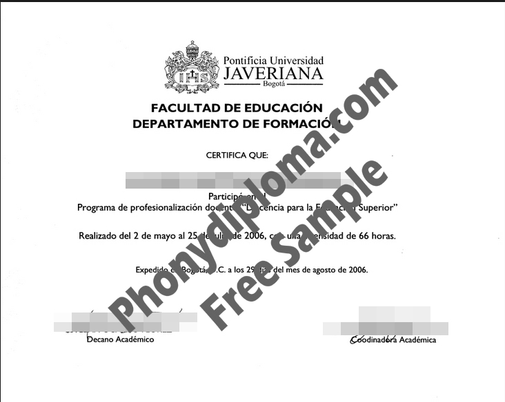 Pontificia Universidad Javeriana Colombia Diploma Free Sample From Phonydiploma
