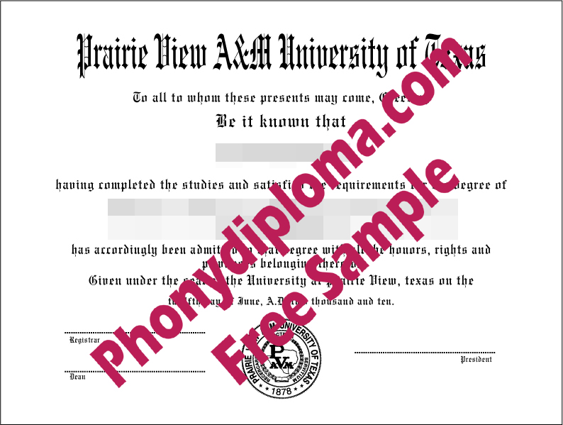 Prairie View A&M University Of Texas Free Sample From Phonydiploma