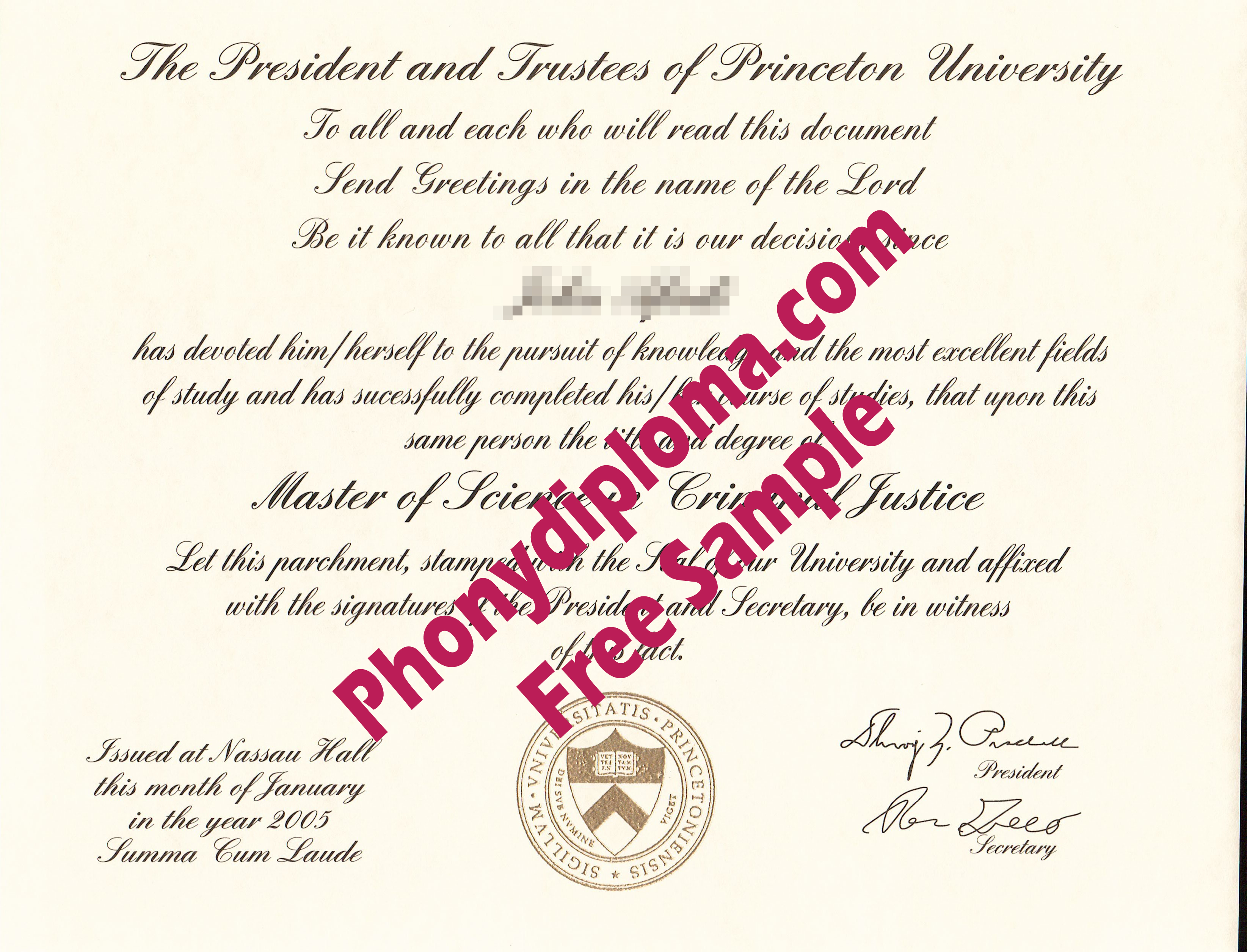 Princeton University Free Sample From Phonydiploma
