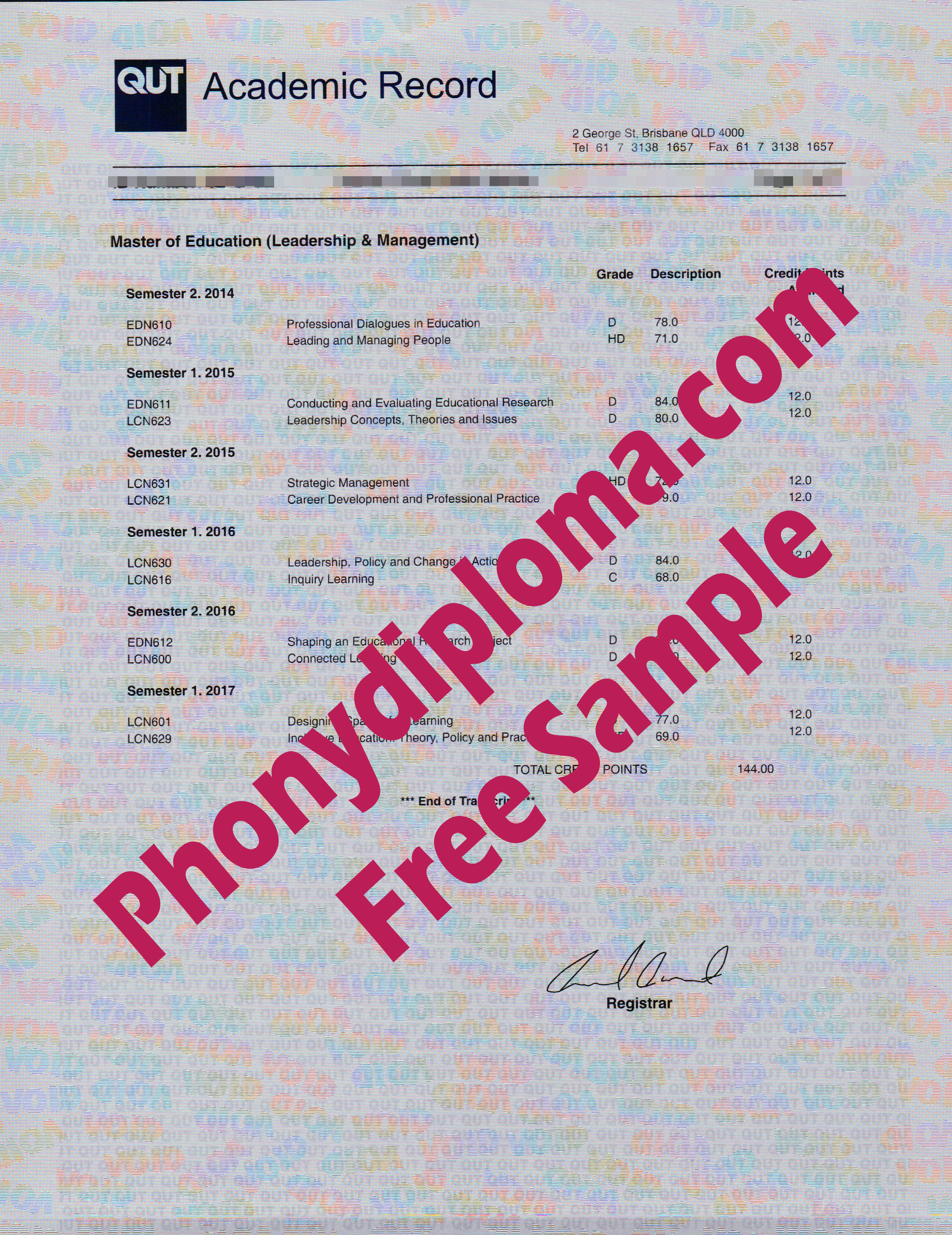 Qut Queensland University Of Technology Actual Match Transcripts Free Sample From Phonydiploma