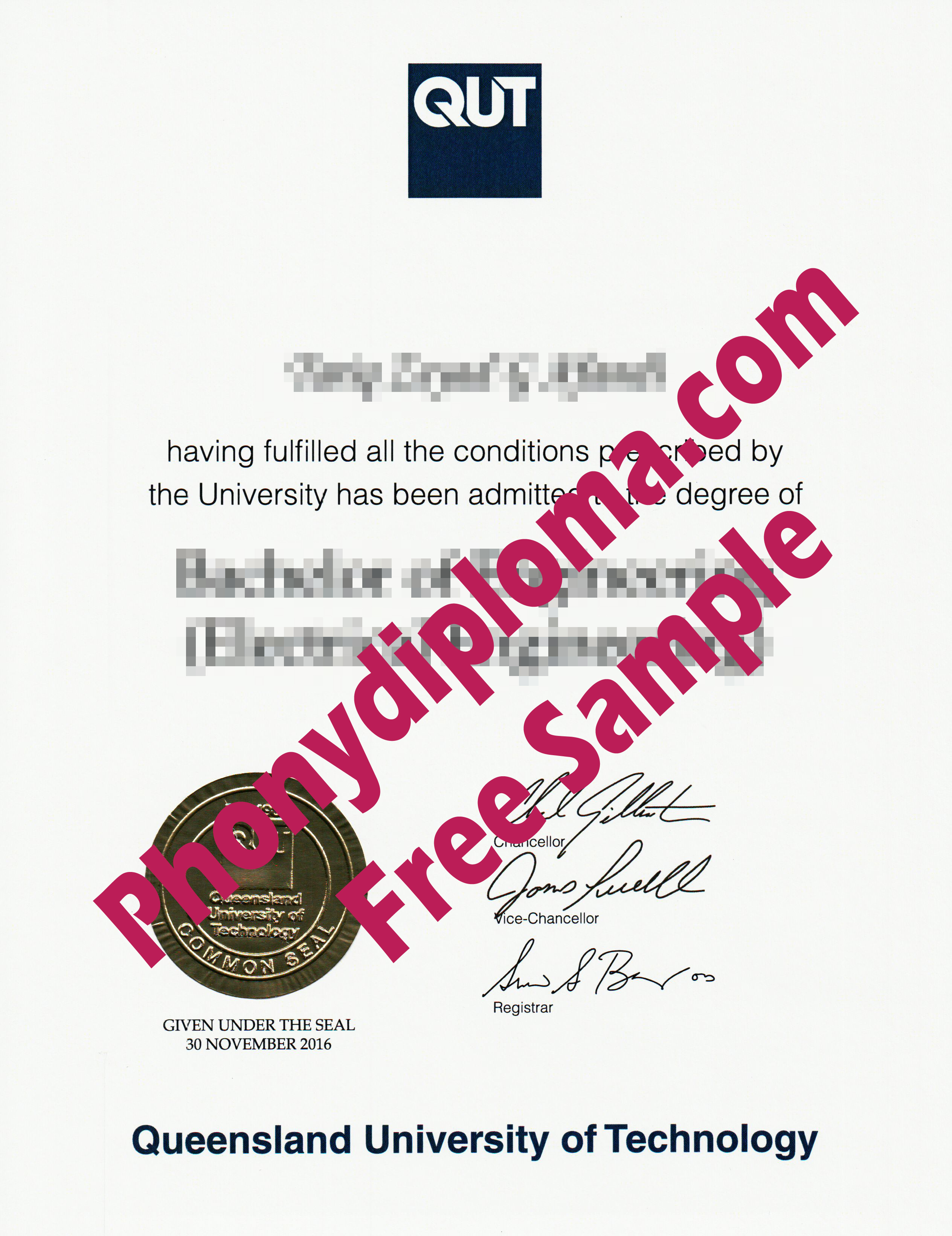 Qut Queensland University Of Technology With Embossed Gold Emblem Free Sample From Phonydiploma