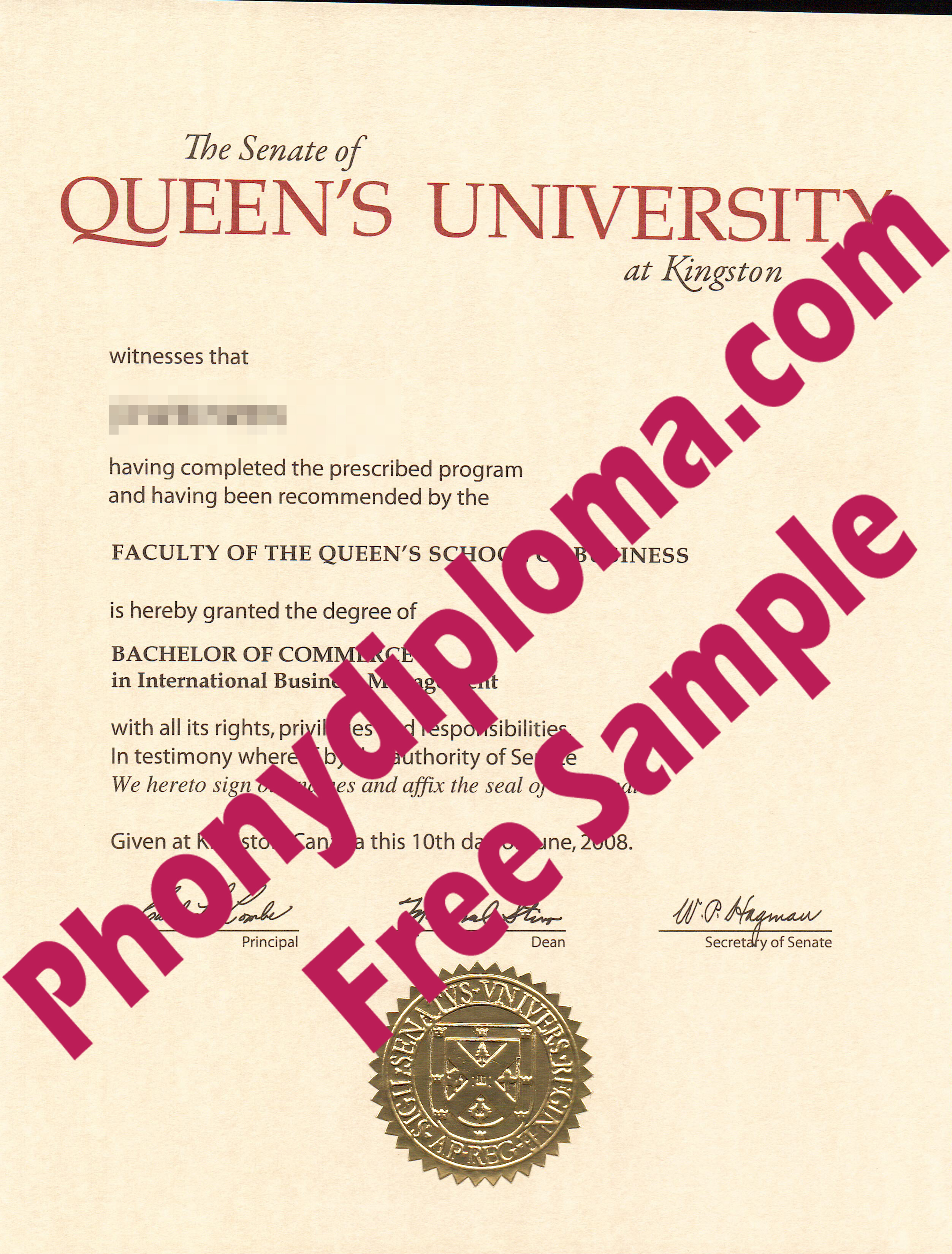 Queen's University Free Sample From Phonydiploma