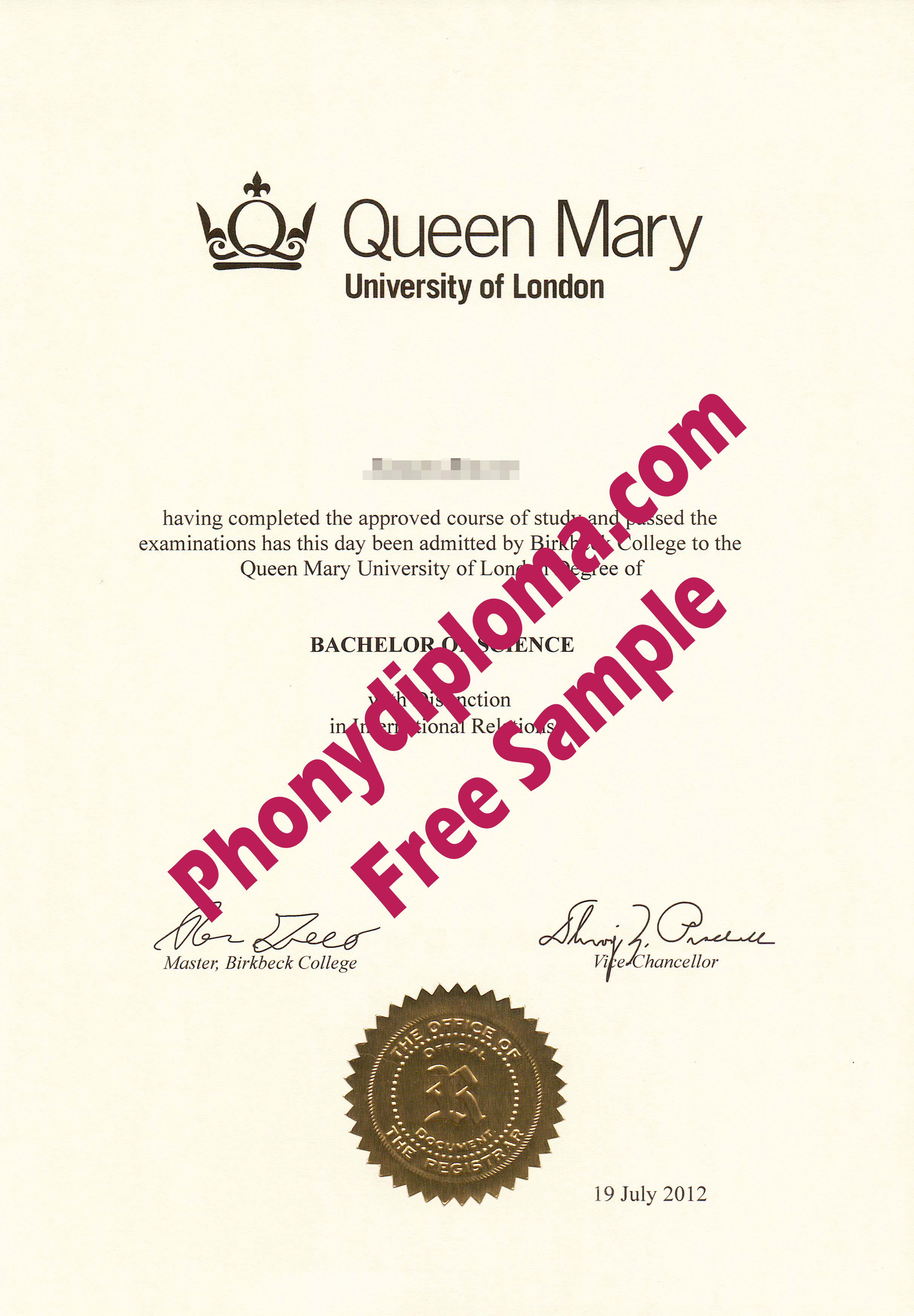 Queen Mary University Of London Free Sample From Phonydiploma