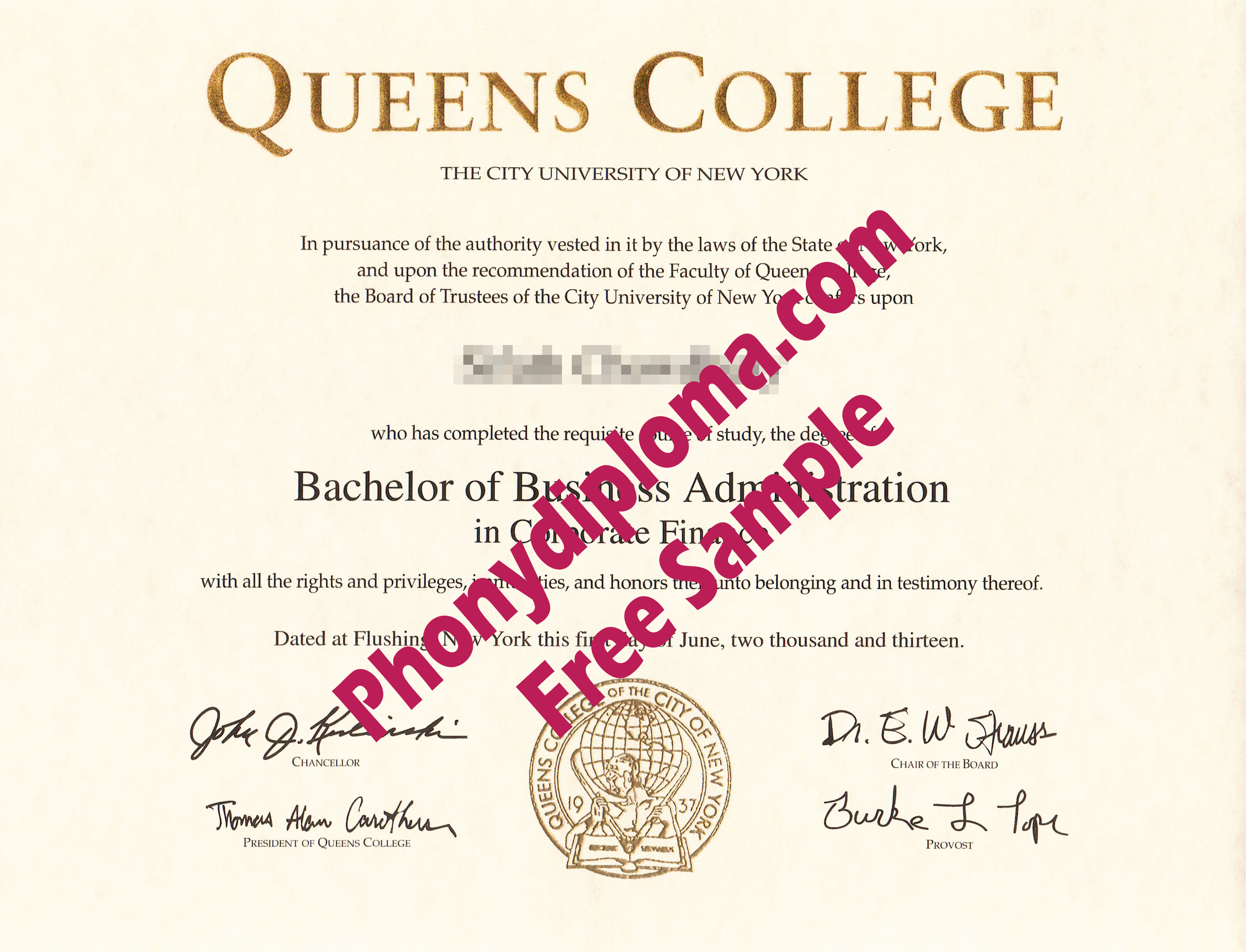Queens College Free Sample From Phonydiploma