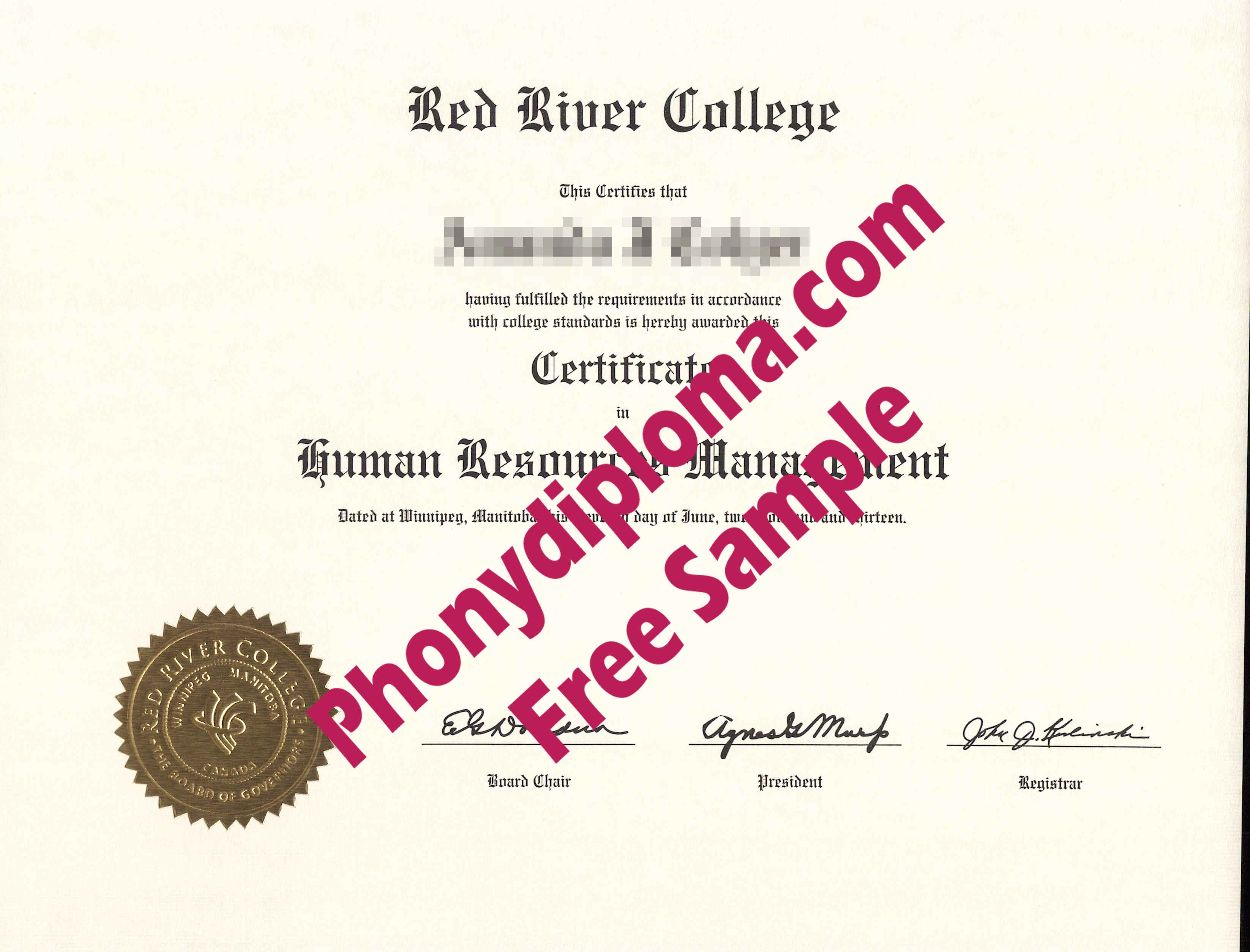 Red River College Certificate Free Sample From Phonydiploma