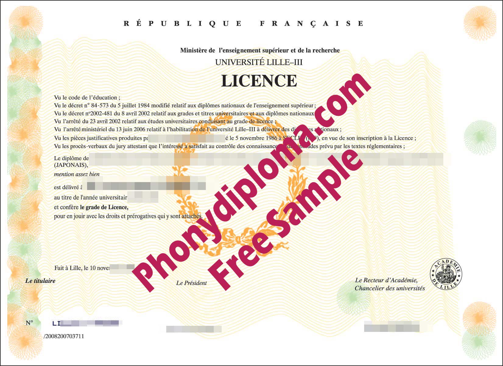 Republique Francaise Free Sample From Phonydiploma