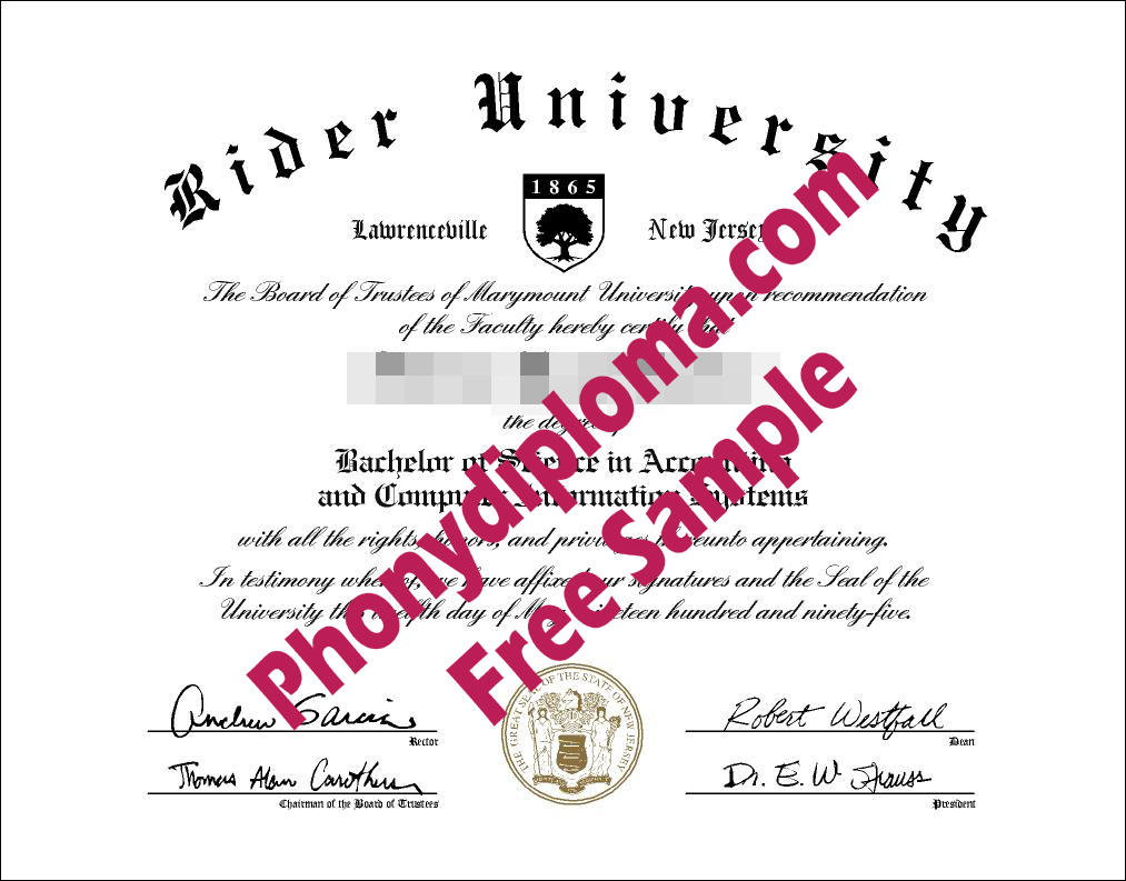 Rider University Free Sample From Phonydiploma