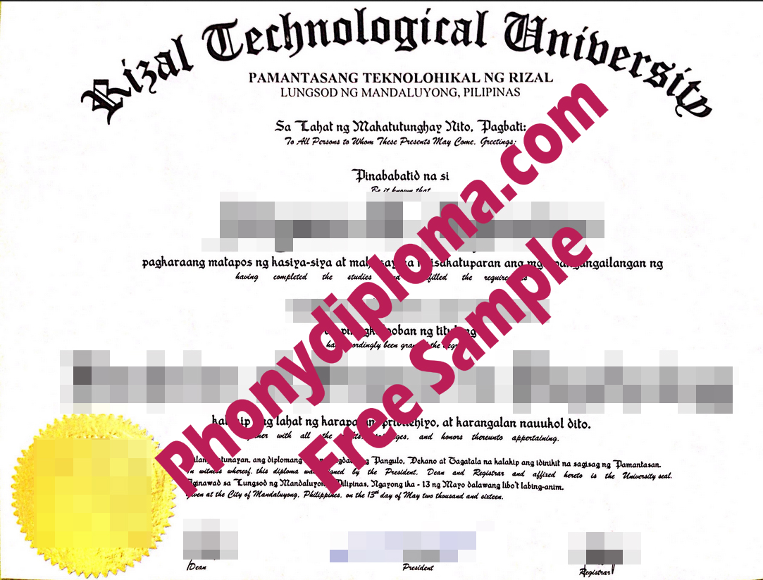 Rizal Technological University With Stock Embossed Registrar Emblem Free Sample From Phonydiploma