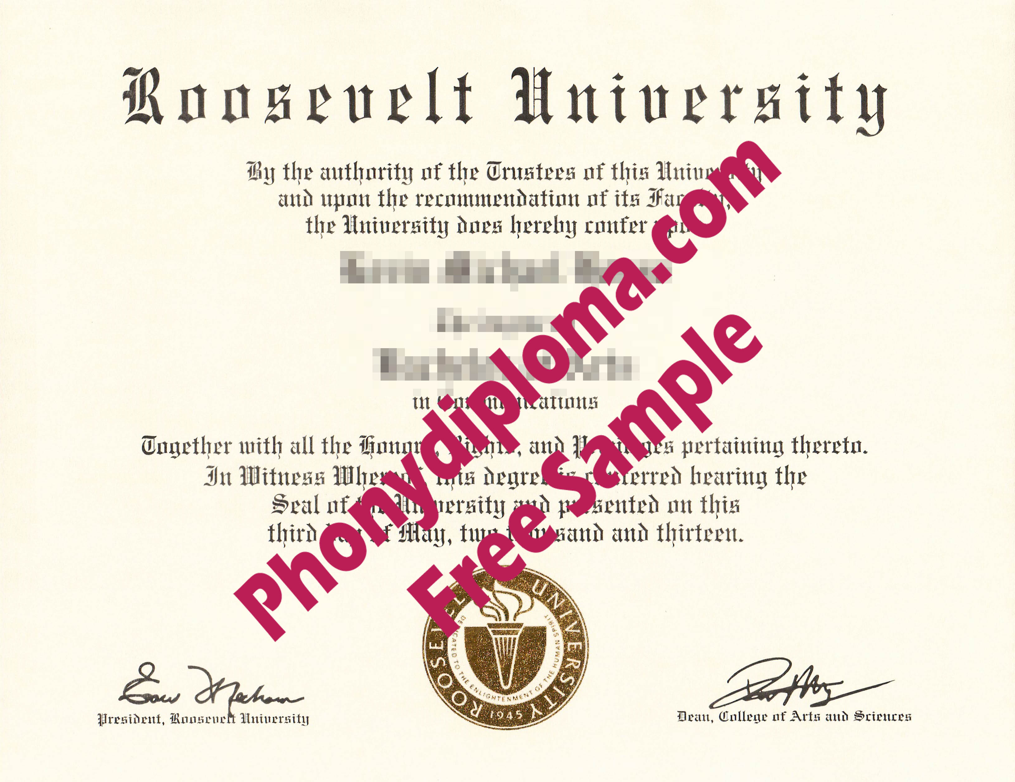 Roosevelt University Free Sample From Phonydiploma