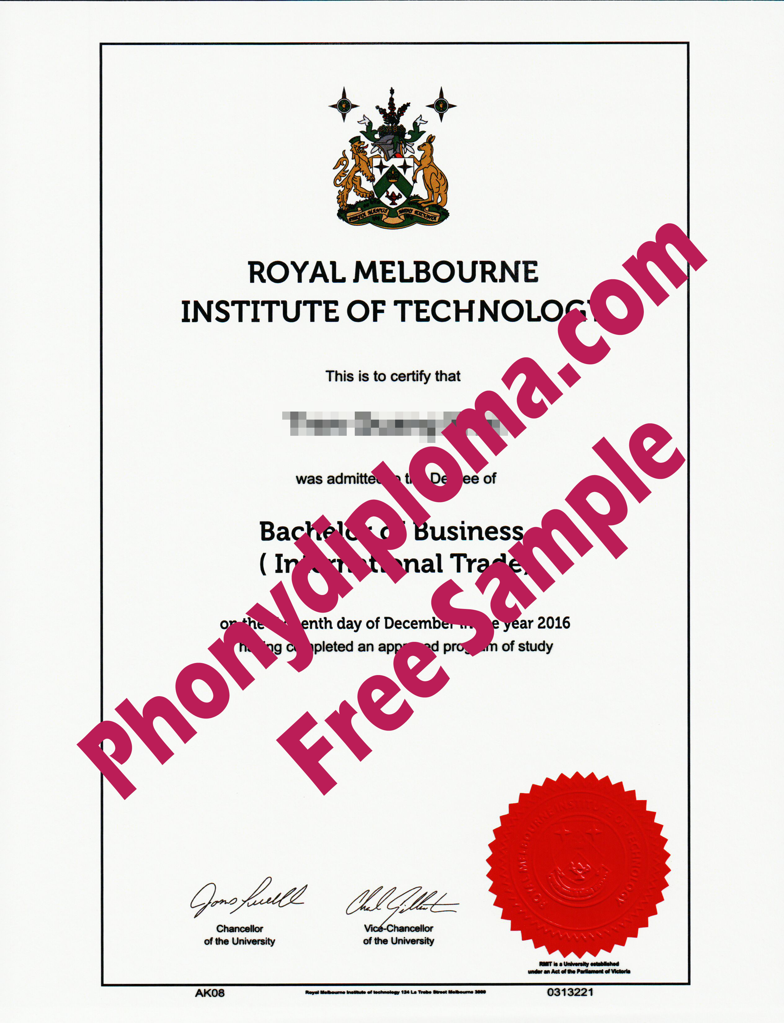 Royal Melbourne Institute Of Technology Free Sample From Phonydiploma