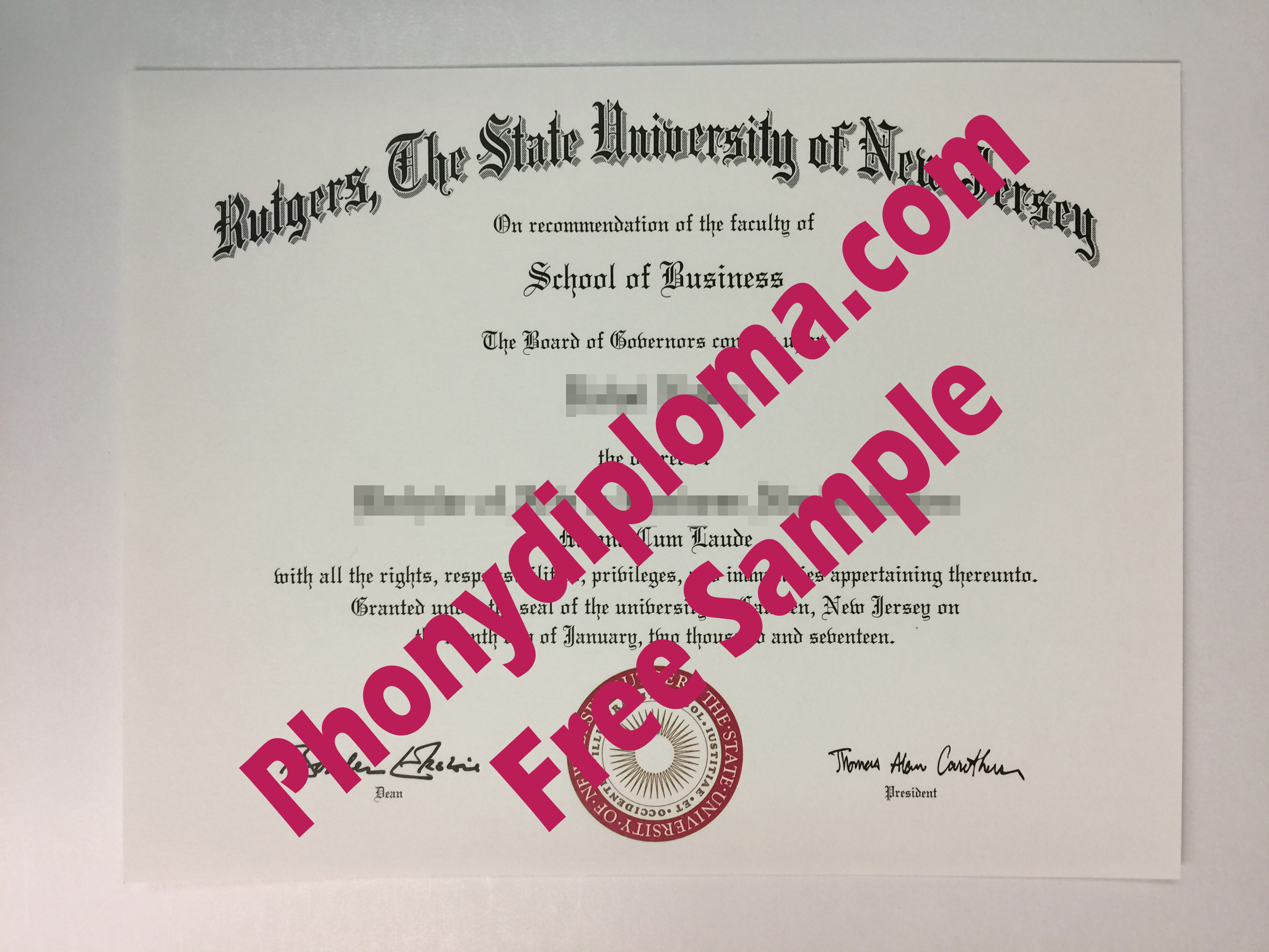 Rutgers Free Sample From Phonydiploma