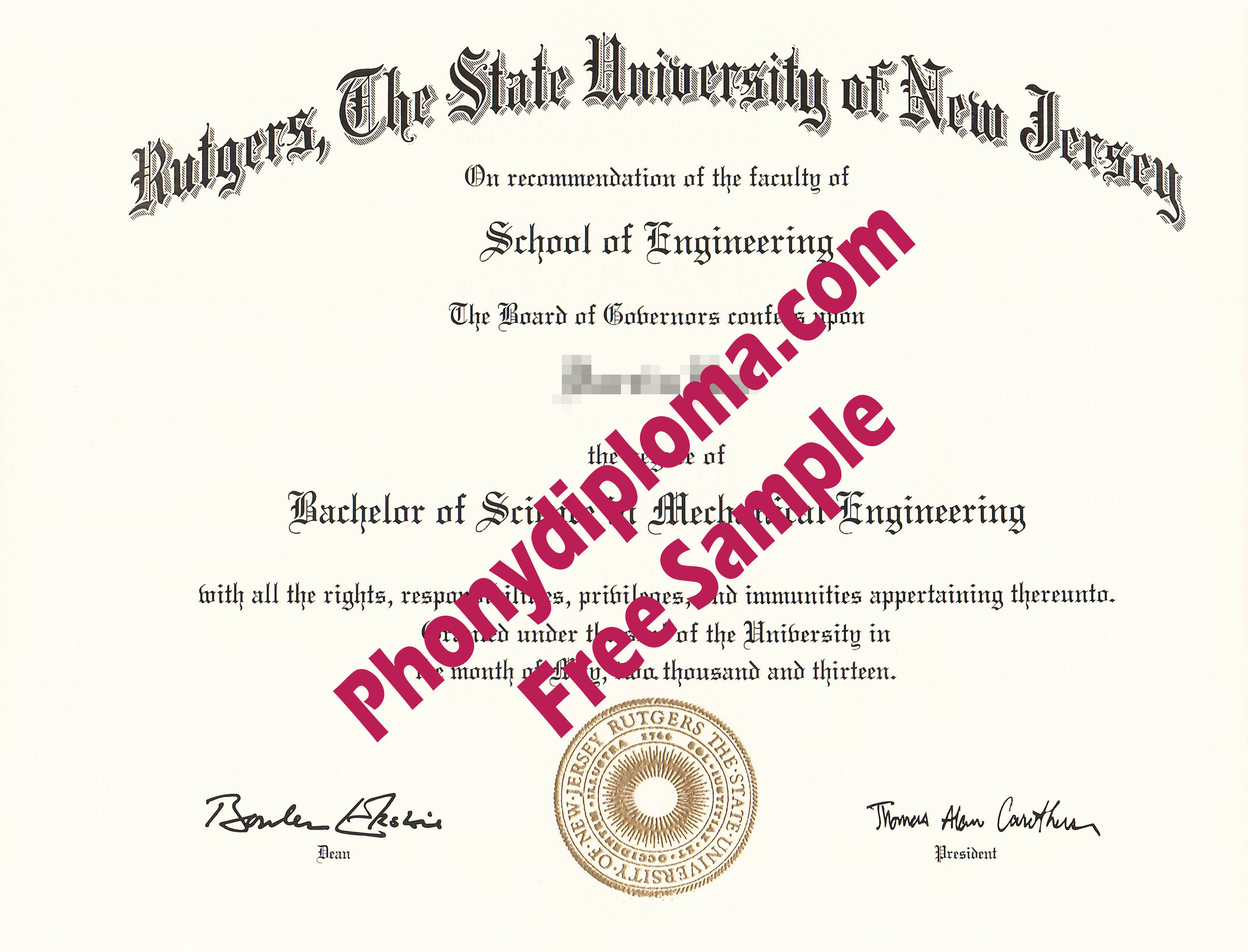 Rutgers University Free Sample From Phonydiploma