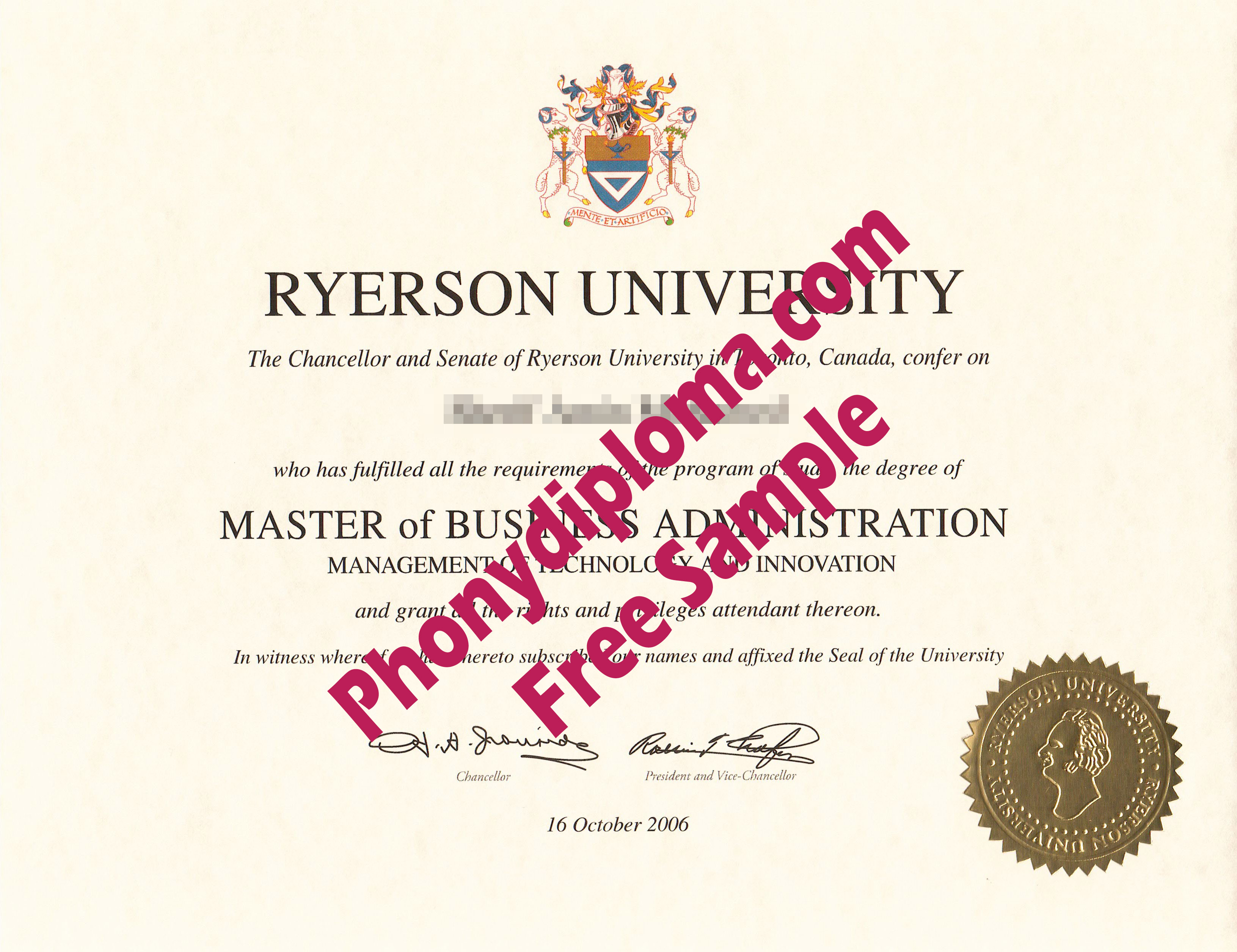 Ryerson University Free Sample From Phonydiploma
