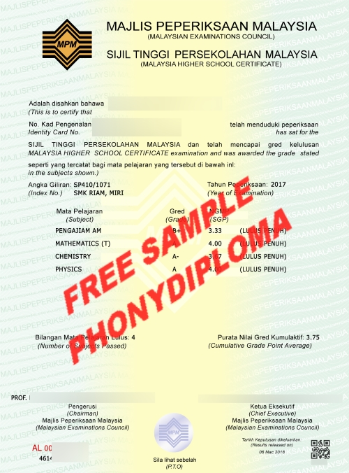 Stpm Certificate Free Sample From Phonydiploma
