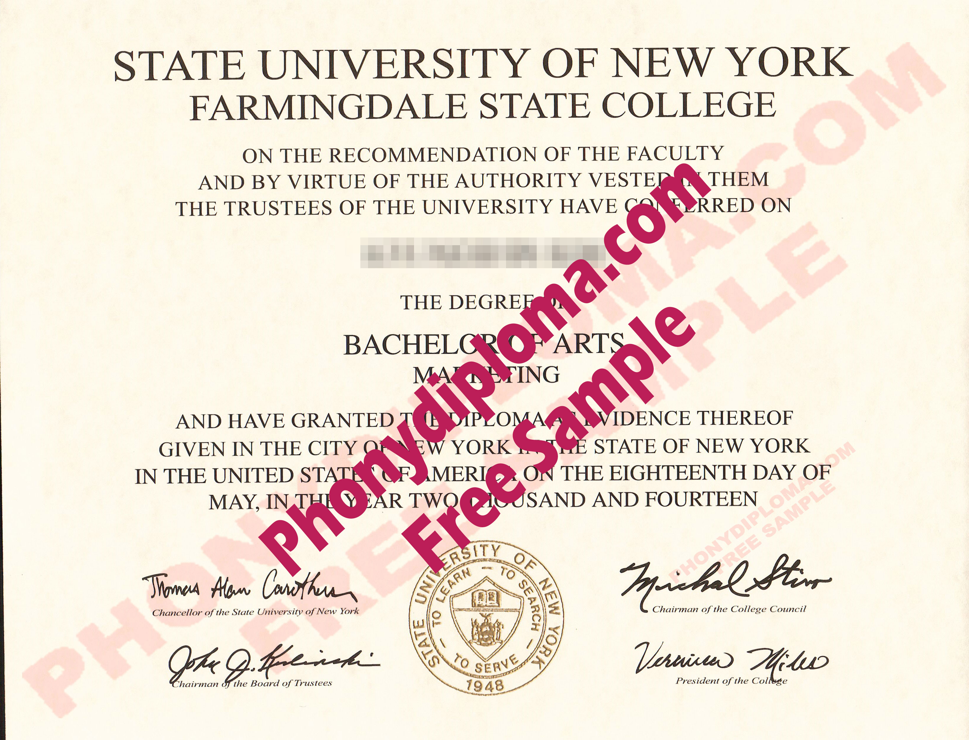 Suny Farmingdale Free Sample From Phonydiploma