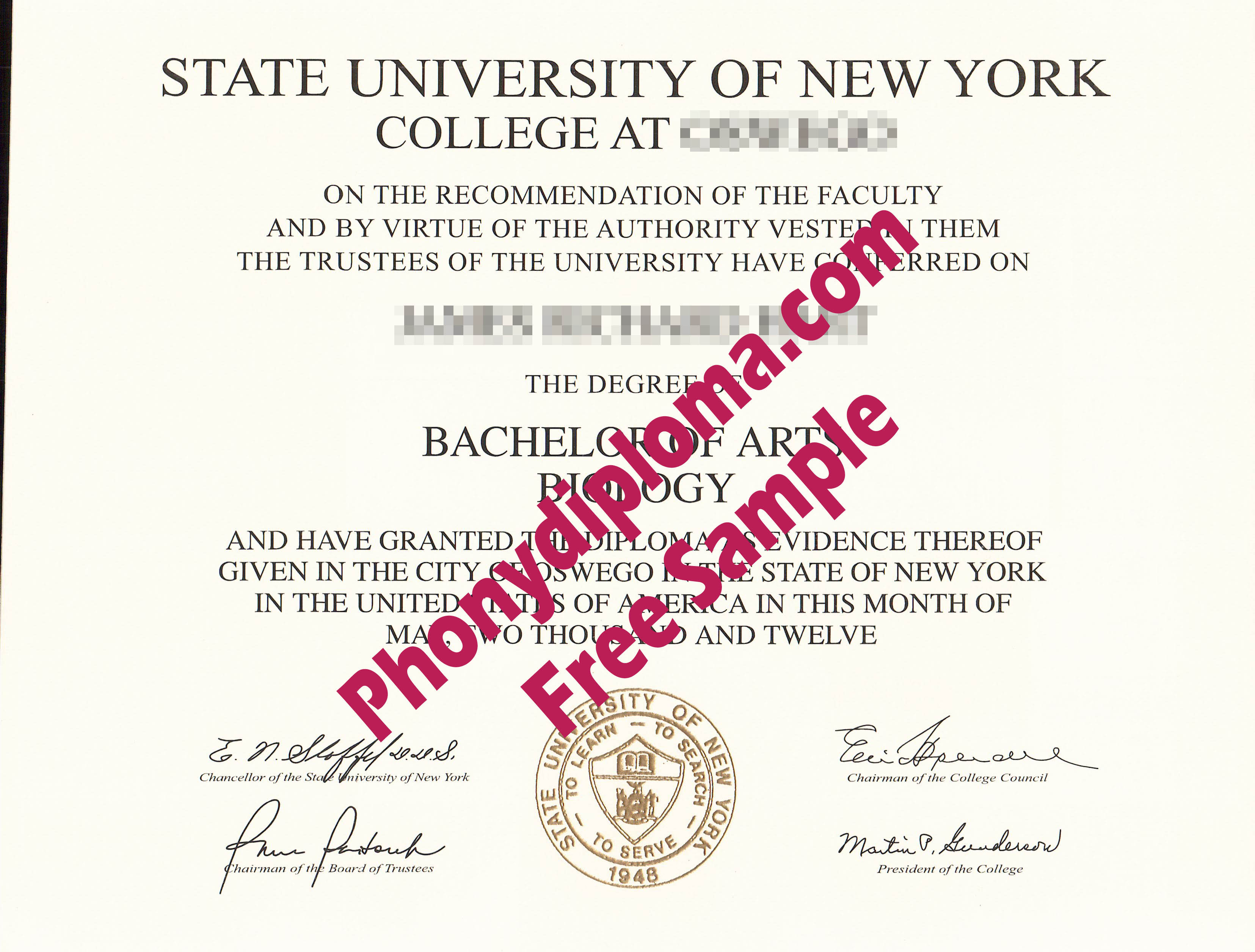 Suny State University Of New York Any Campus Free Sample From Phonydiploma