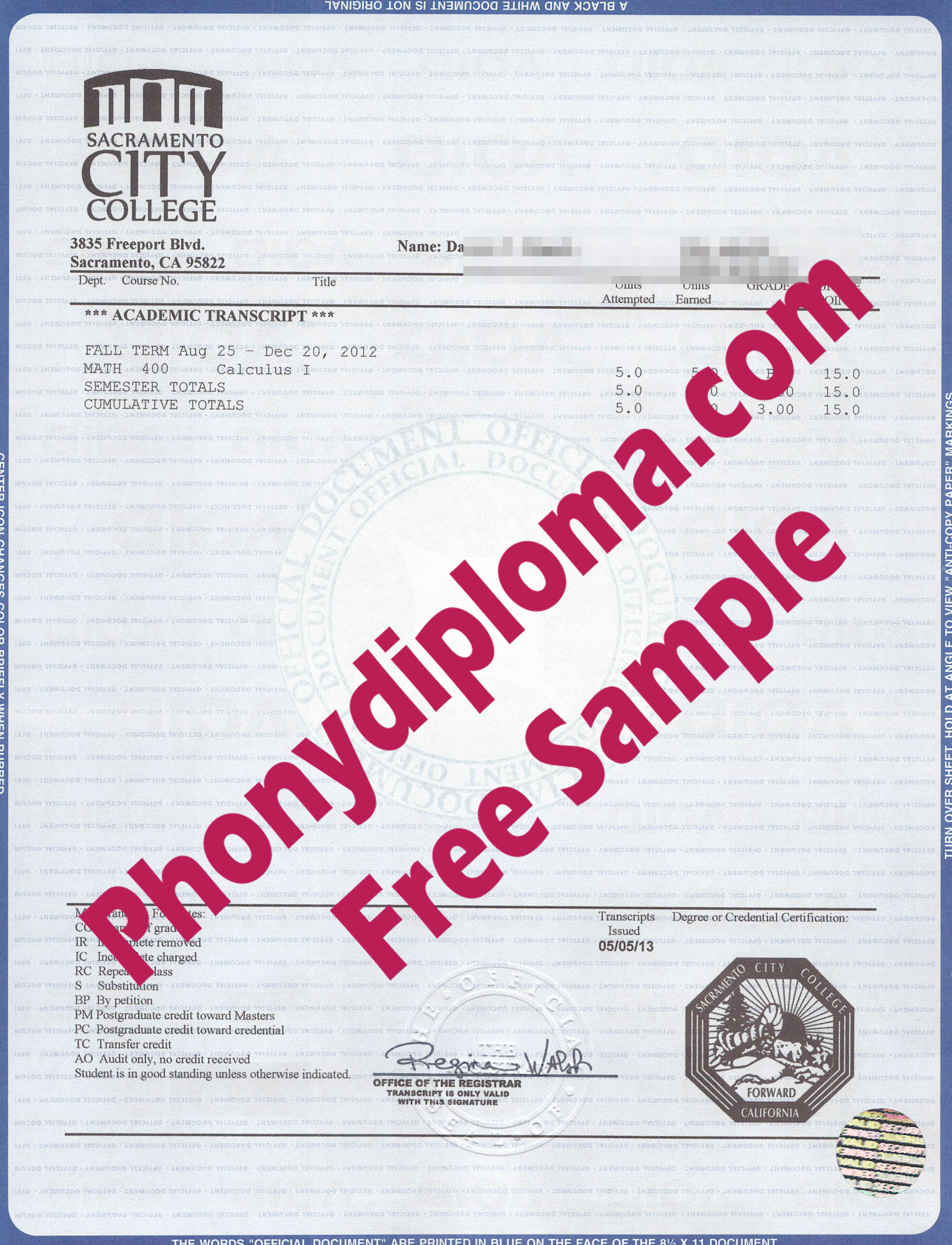 Sacramento City College House Desgin Transcripts Free Sample From Phonydiploma