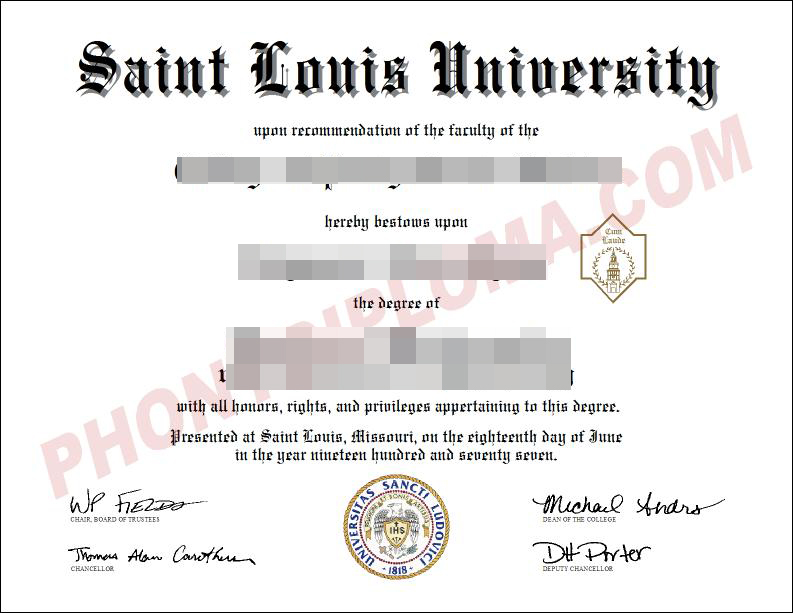 Saint Louis University Free Sample From Phonydiploma