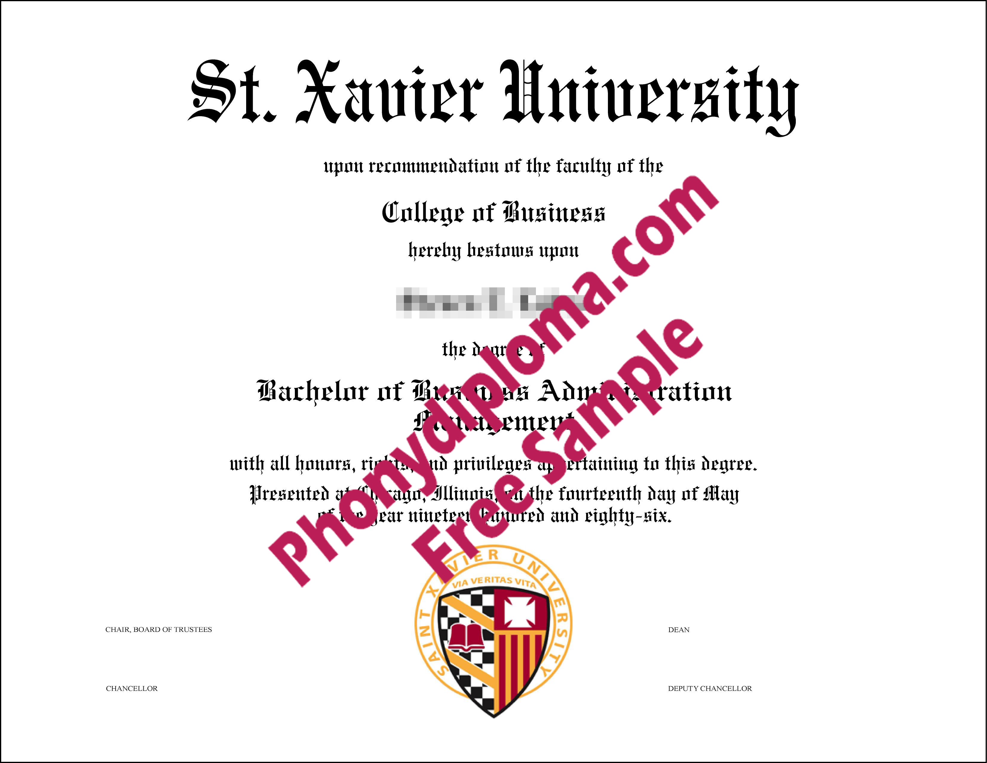 Saint Xavier University Free Sample From Phonydiploma