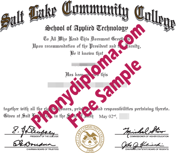 Salt Lake Community College Free Sample From Phonydiploma