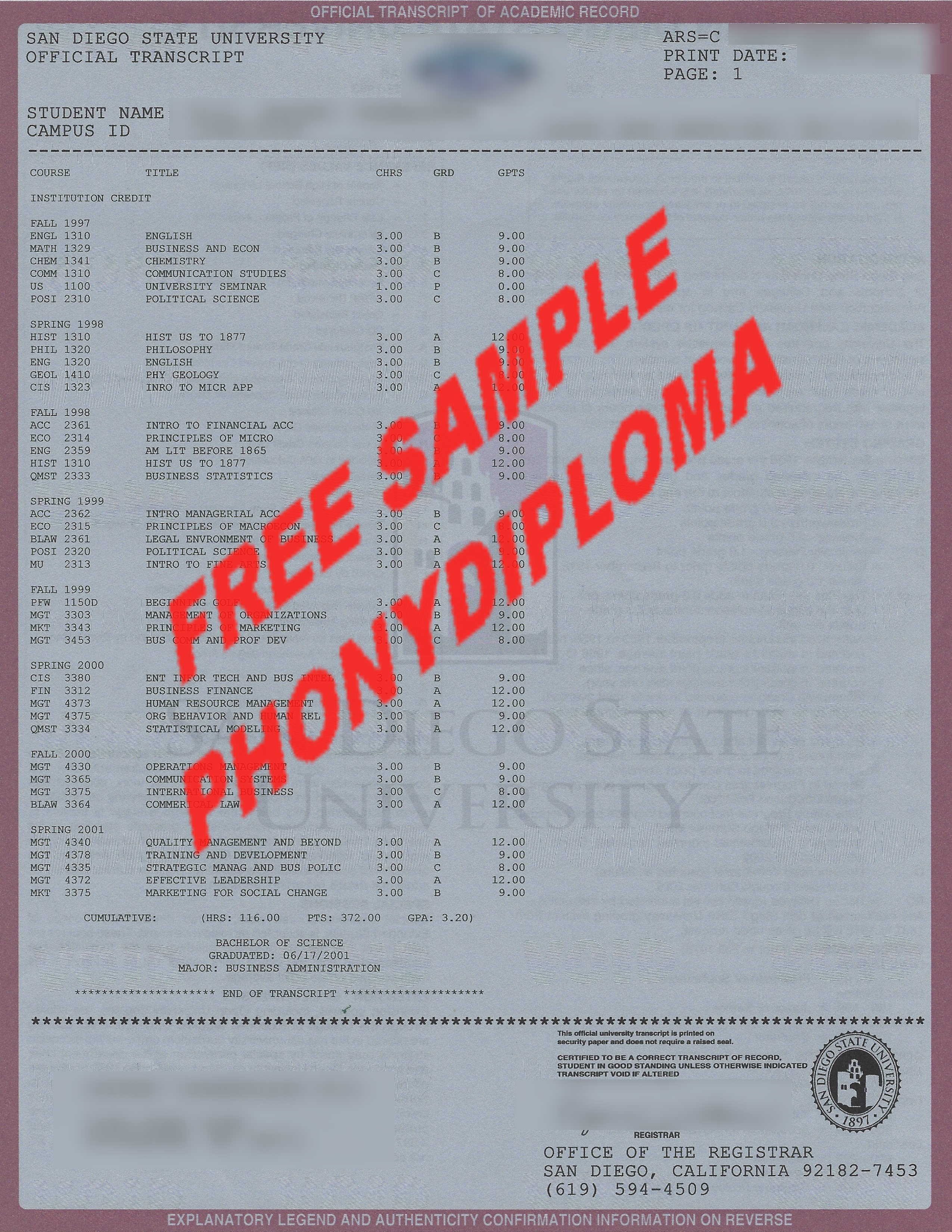 San Diego State University Actual Match Transcript Free Sample From Phonydiploma