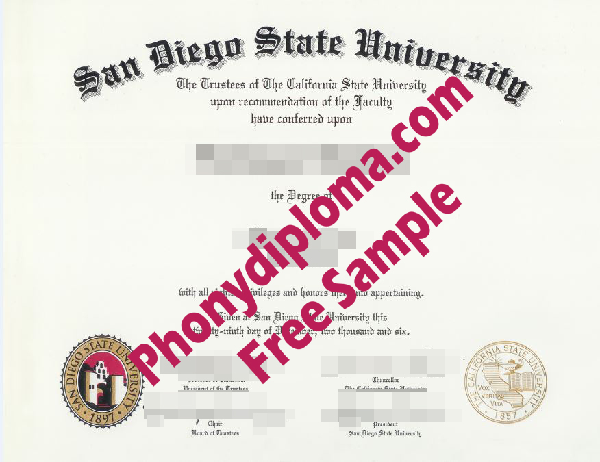 San Diego State University Free Sample From Phonydiploma
