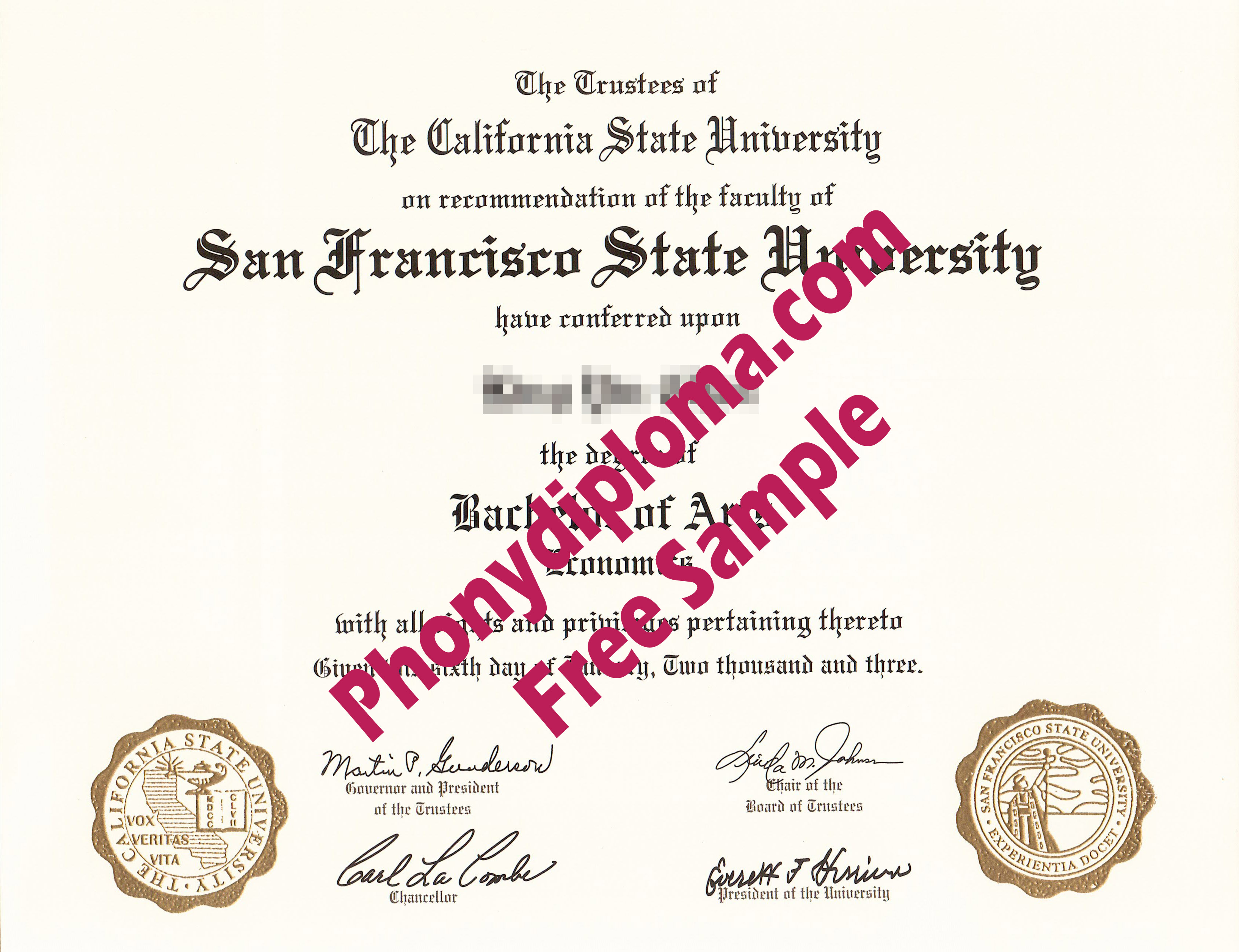 San Francisco State University Emblems In Raised Gold Free Sample From Phonydiploma