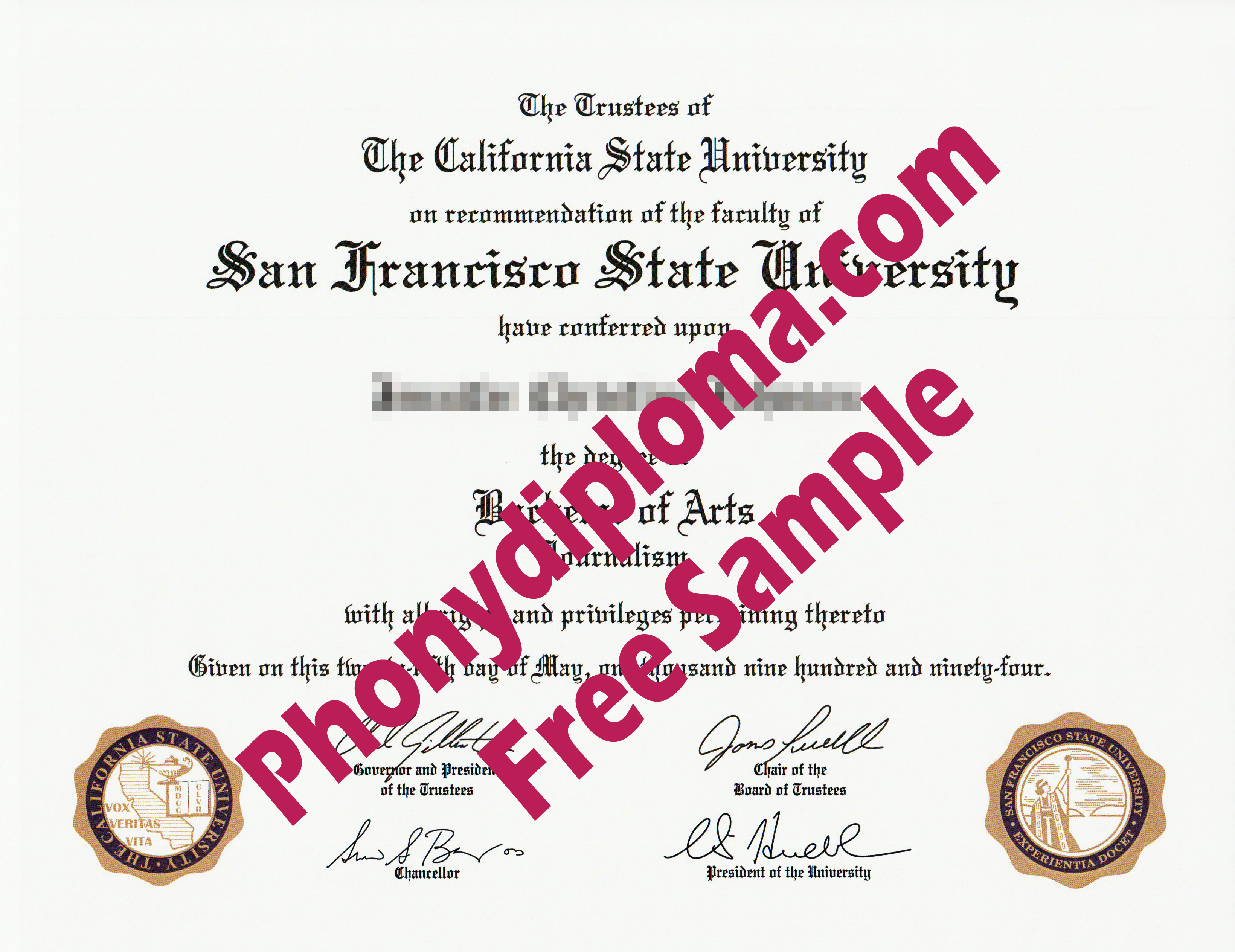 San Francisco State University Printed Emblems Free Sample From Phonydiploma