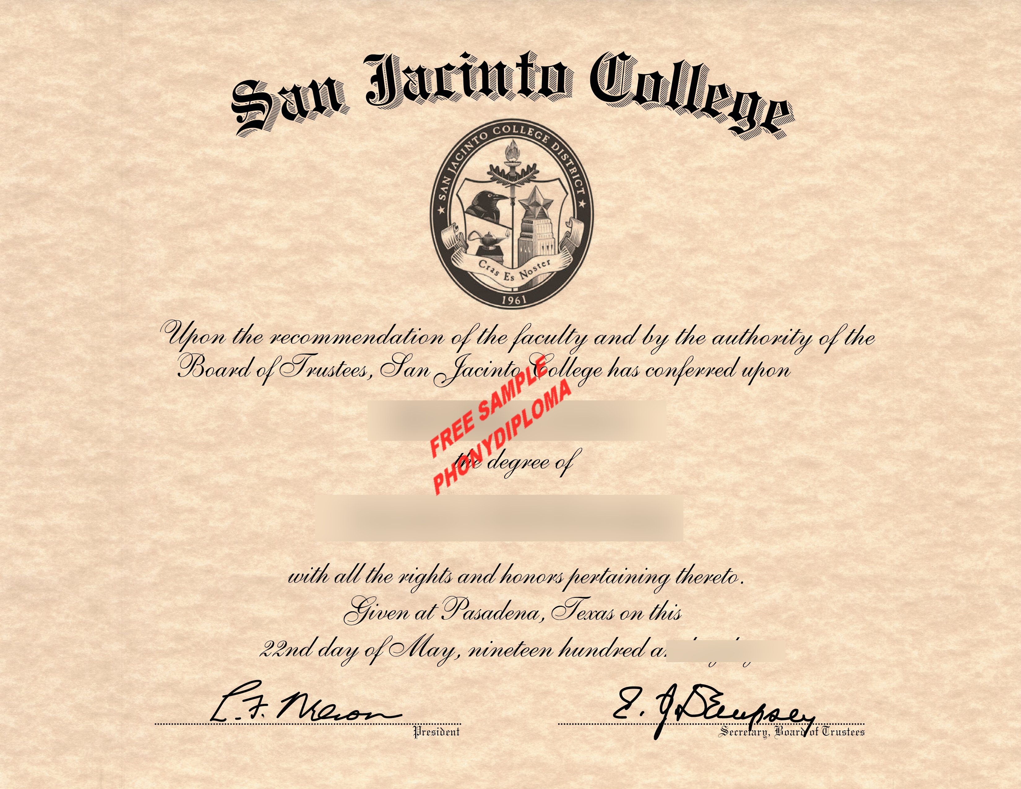 San Jacinto College Free Sample From Phonydiploma